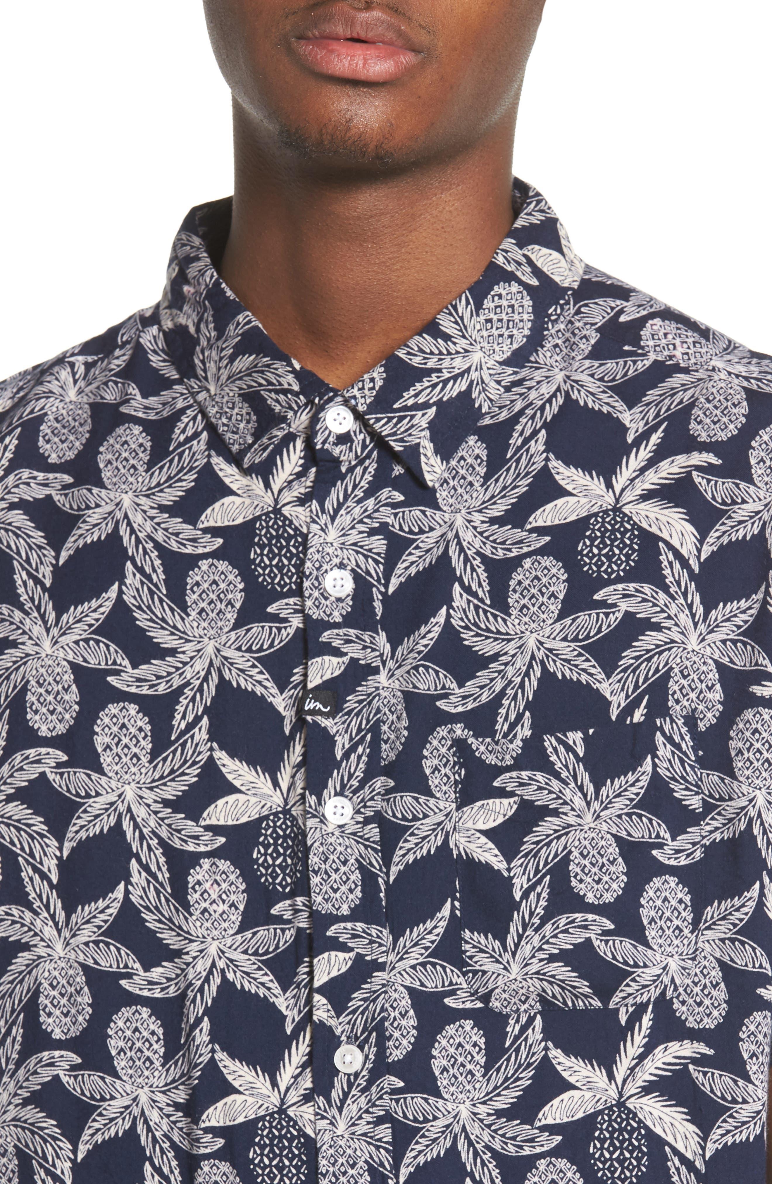 Vacay Woven Shirt,                             Alternate thumbnail 2, color,                             Navy Multi