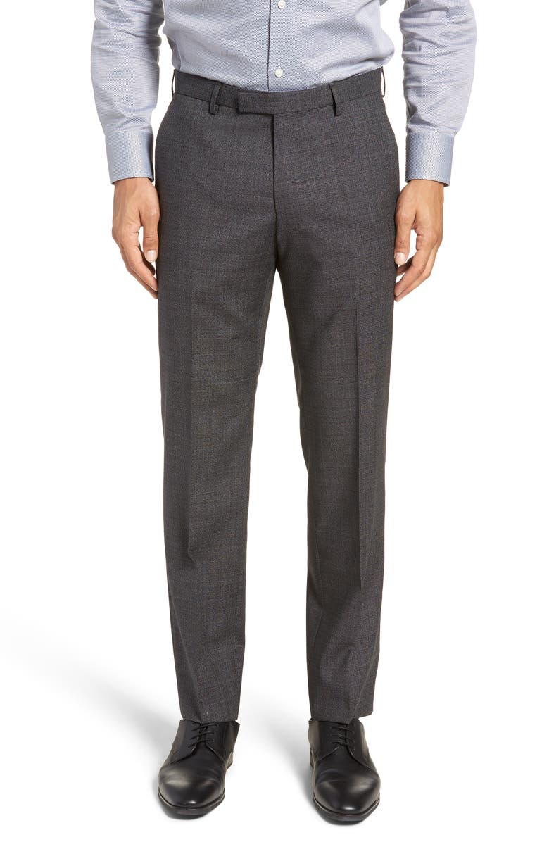 Leenon Flat Front Solid Wool Trousers