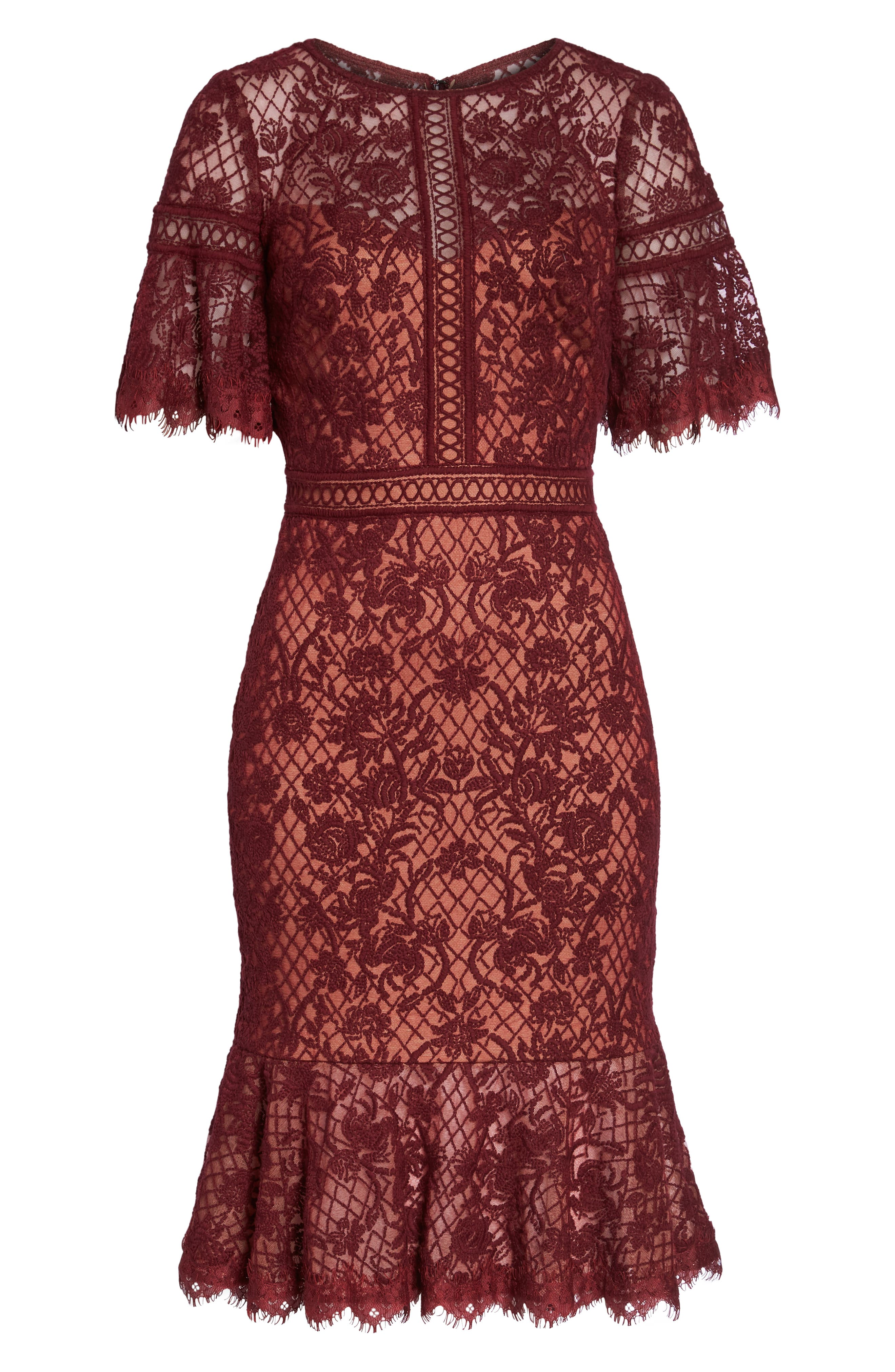 Embroidered Mesh Dress,                             Alternate thumbnail 6, color,                             Autumn/ Nude
