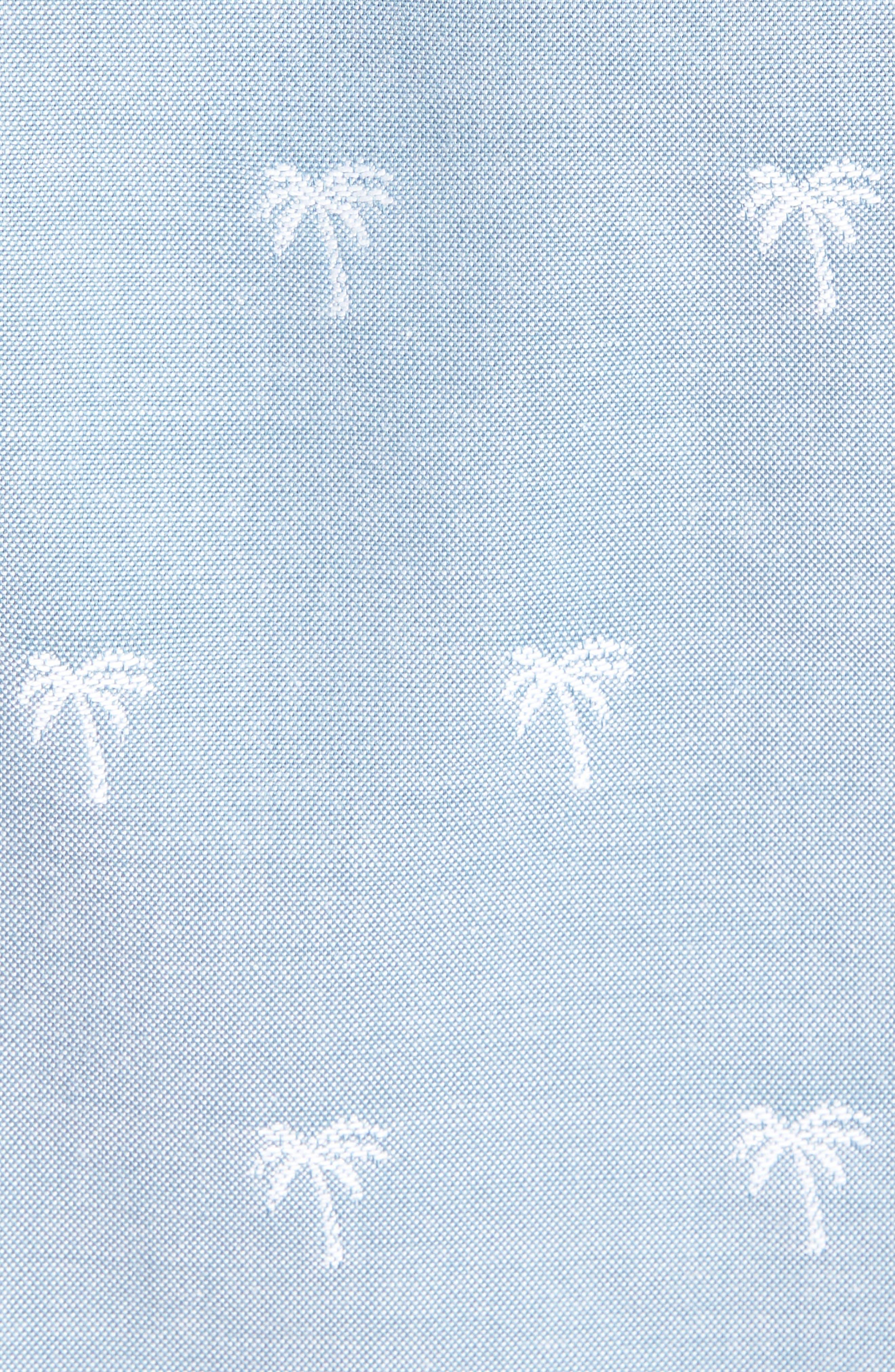 Trim Fit Print Chambray Sport Shirt,                             Alternate thumbnail 5, color,                             Blue Chambray Palm Trees