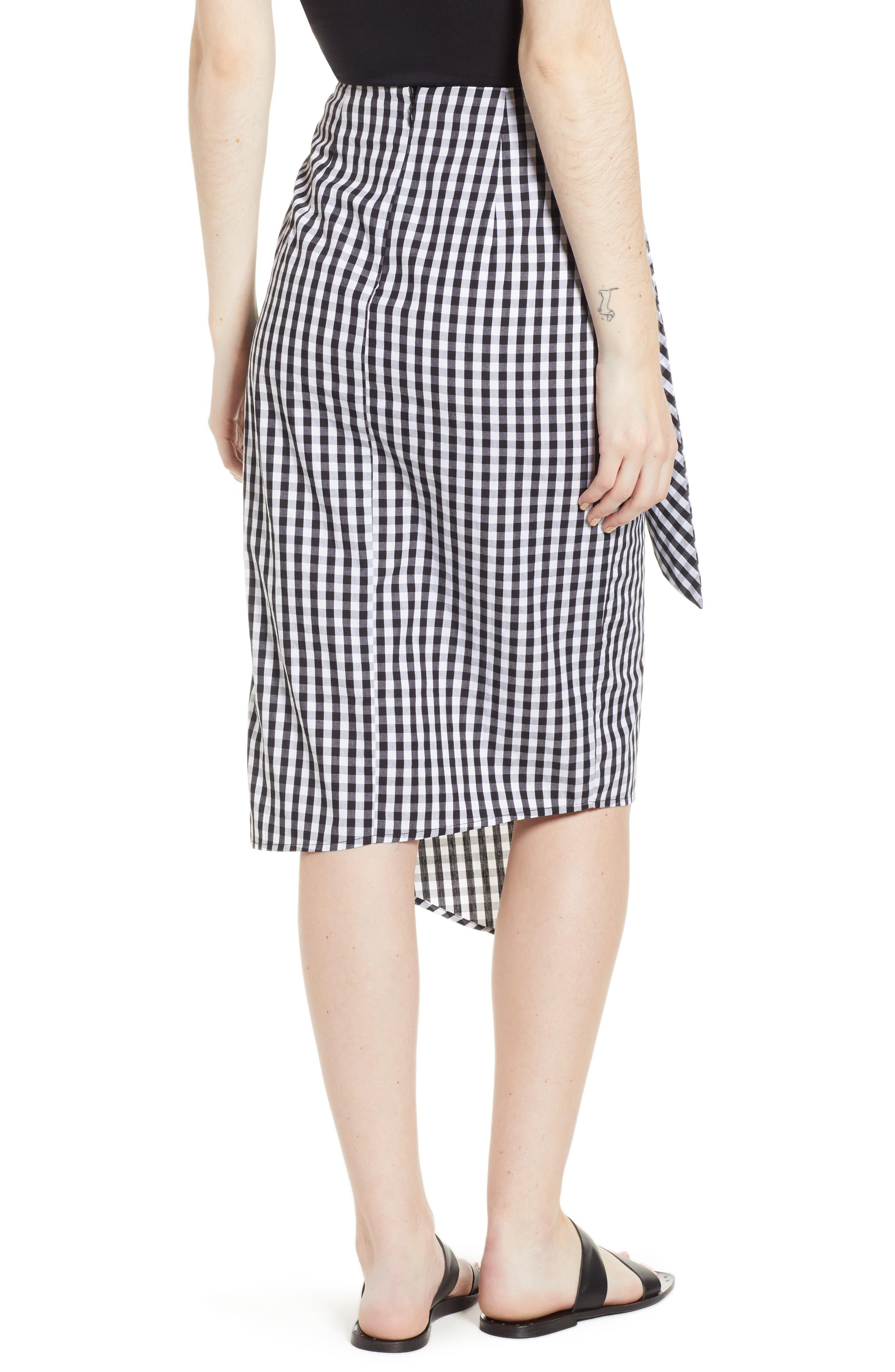 Gingham Tie Waist Skirt,                             Alternate thumbnail 2, color,                             Black/ White Gingham