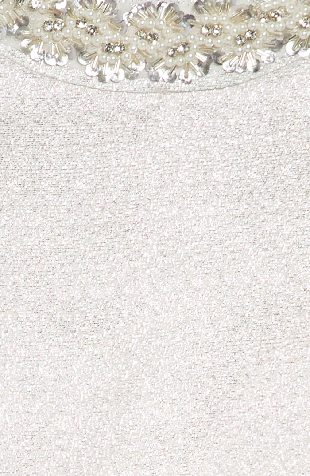 Embellished Fit & Flare Dress,                             Alternate thumbnail 3, color,                             Silver