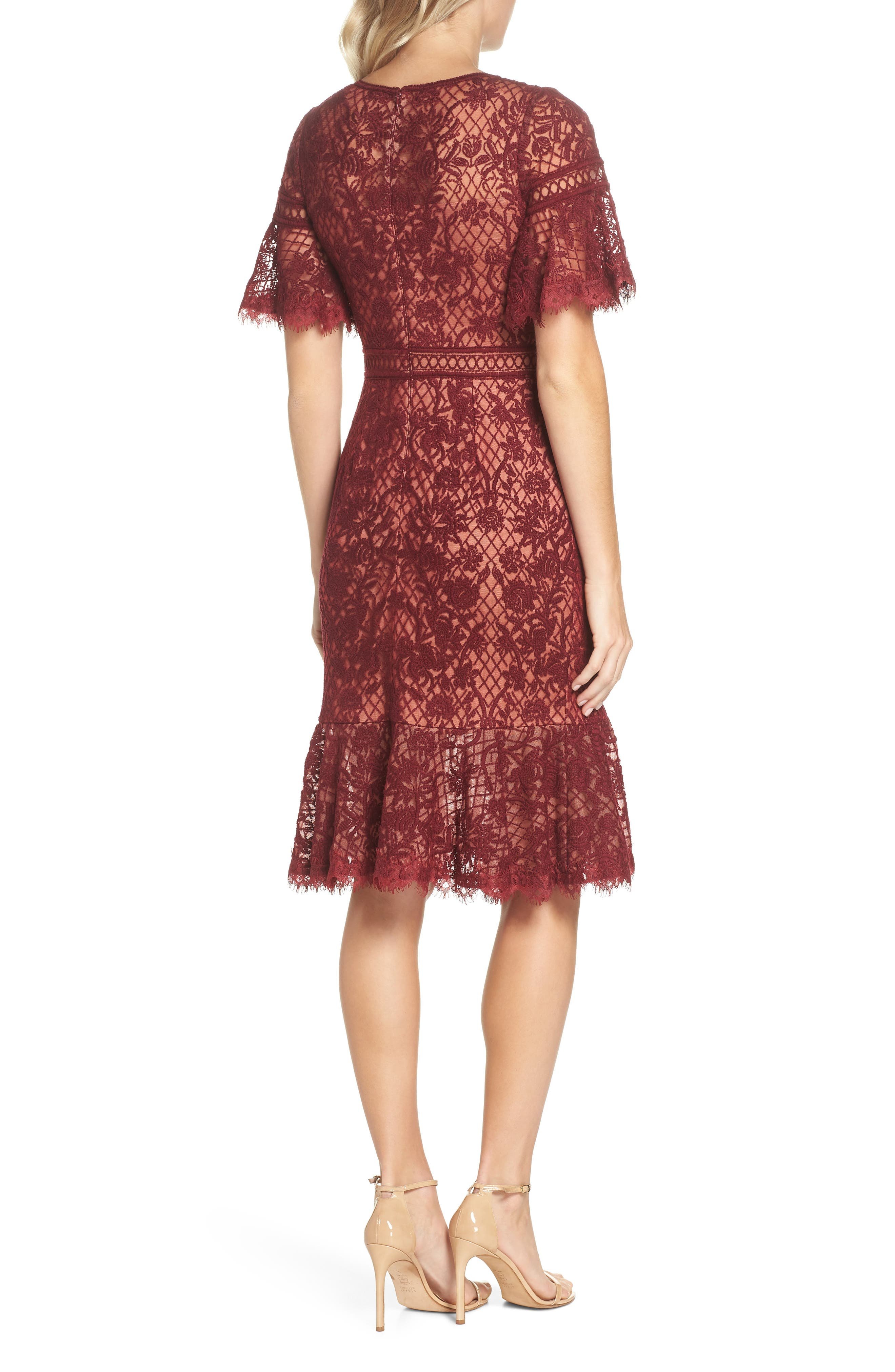 Embroidered Mesh Dress,                             Alternate thumbnail 2, color,                             Autumn/ Nude