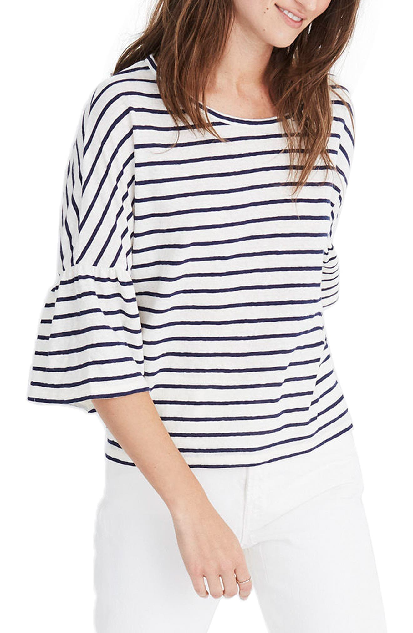 Stripe Flare Sleeve Tee,                             Main thumbnail 1, color,                             Bright Ivory