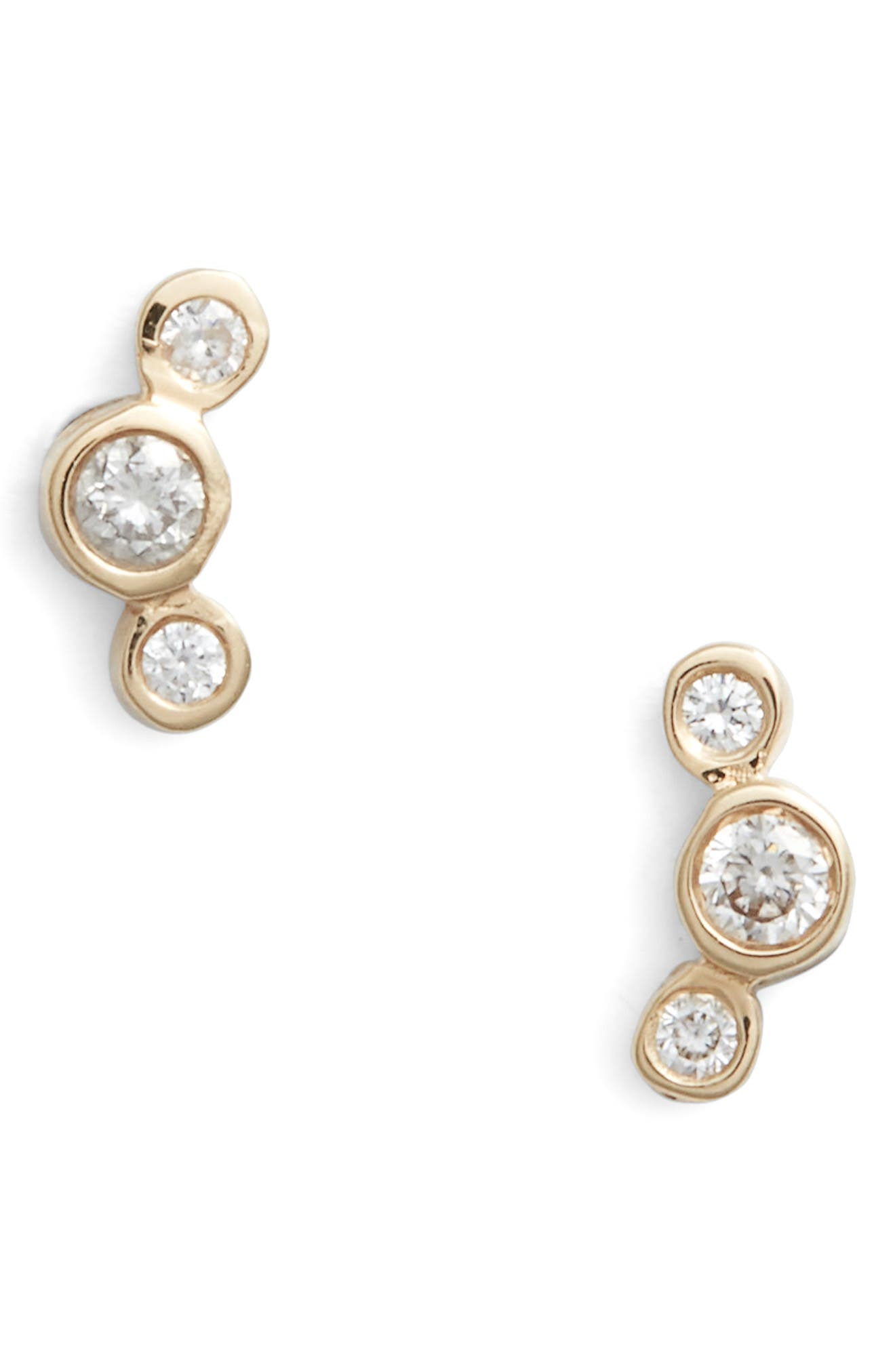 Curved 3-Diamond Stud Earrings,                             Main thumbnail 1, color,                             Yellow Gold