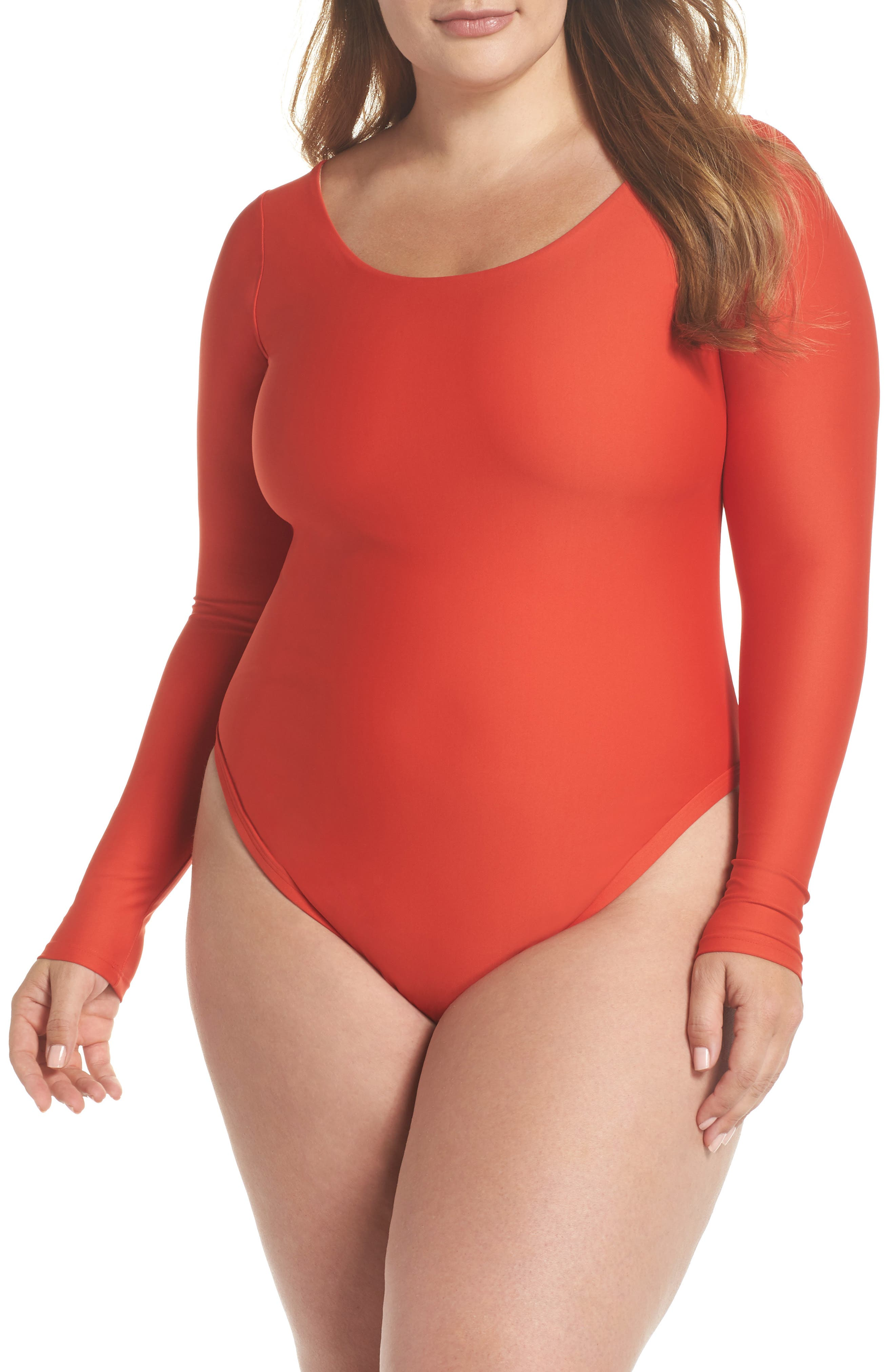 Long Sleeve One-Piece Swimsuit,                         Main,                         color, Rose Red