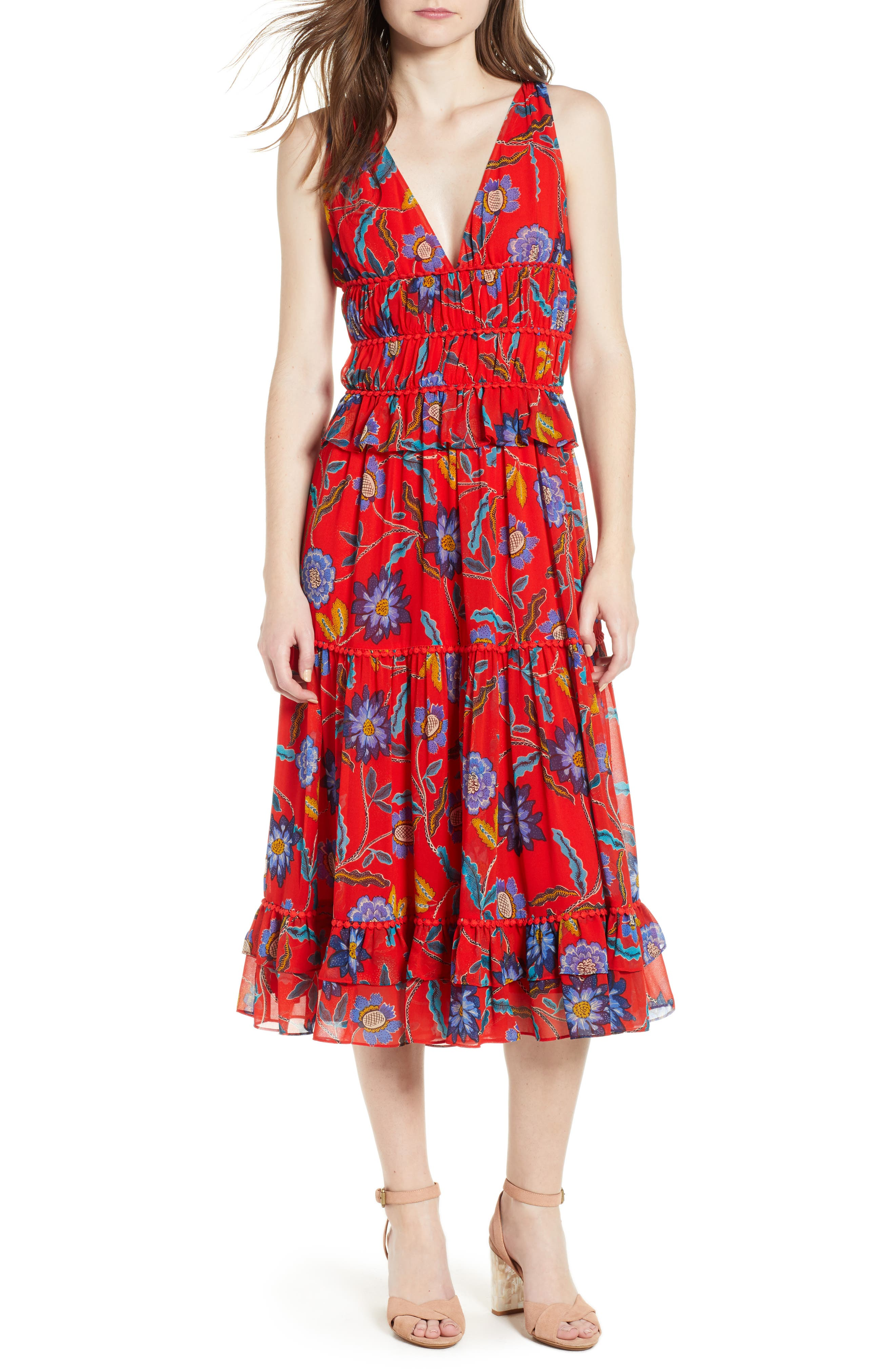 Lucy Floral Dress,                             Main thumbnail 1, color,                             Red Multi