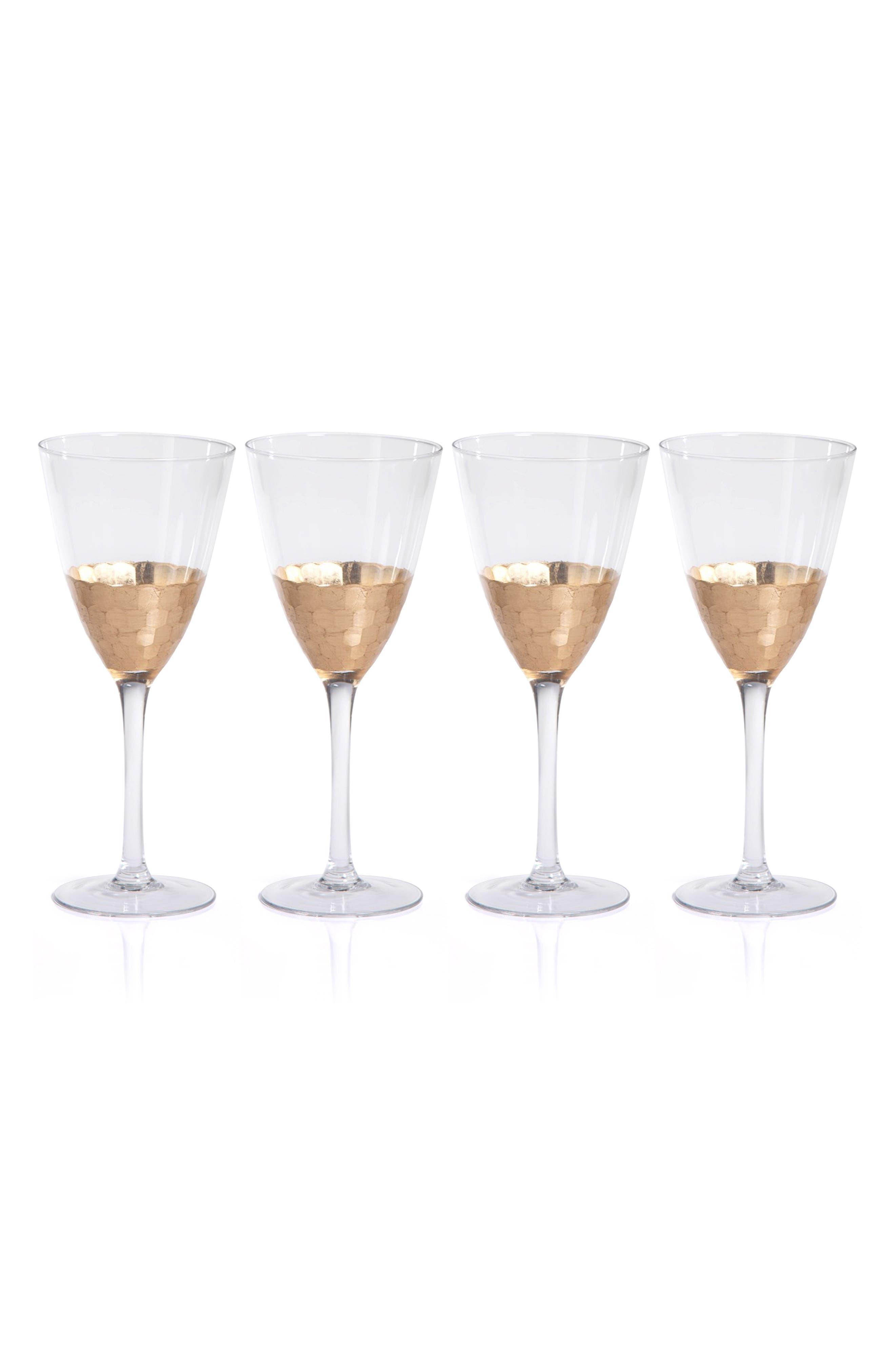 Vitorrio Set of 4 Wine Glasses,                         Main,                         color, Gold