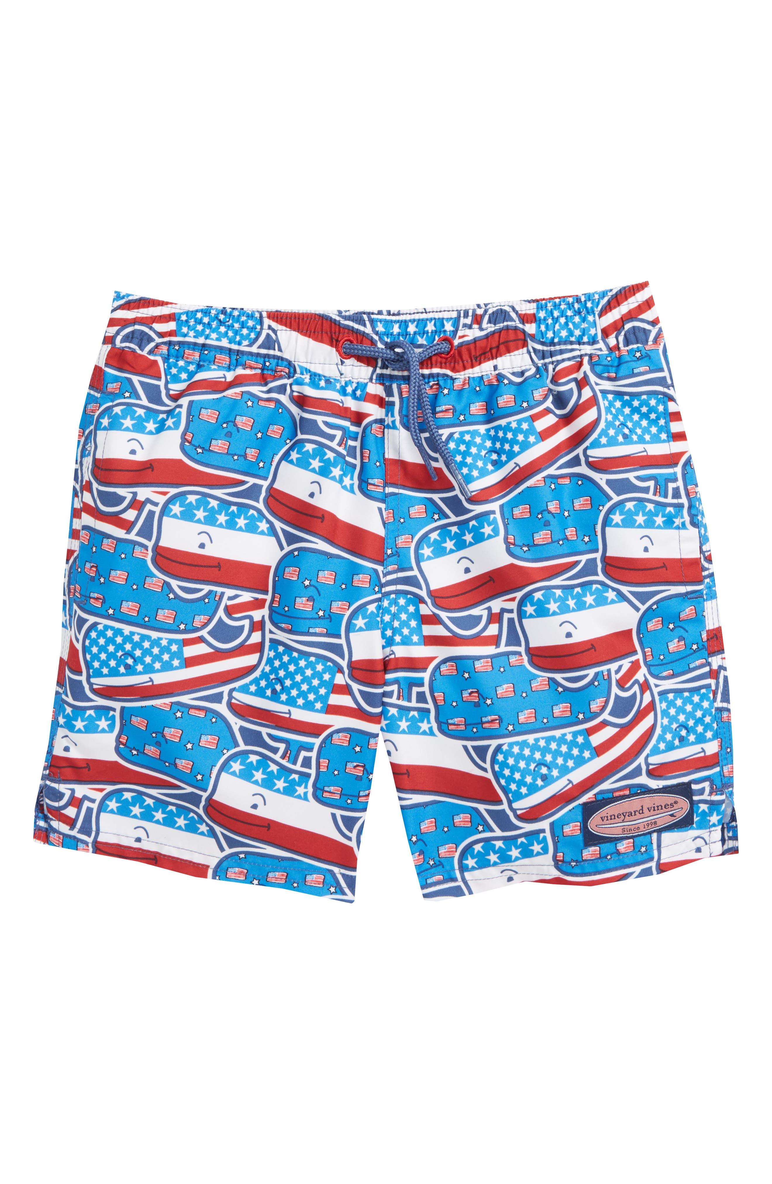 Chappy Whaley USA Swim Trunks,                         Main,                         color, Moonshine