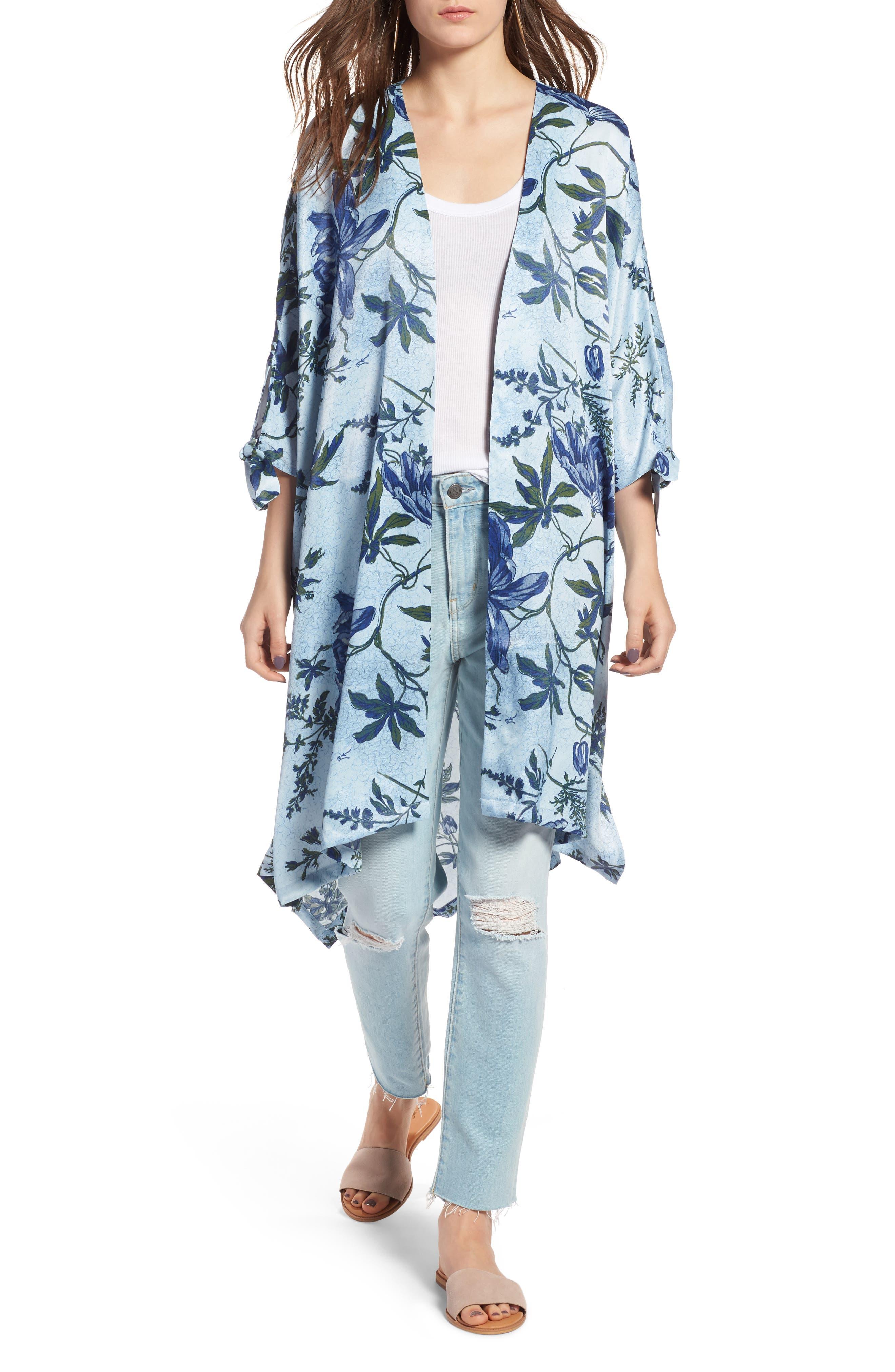 High/Low Kimono,                             Main thumbnail 1, color,                             Blue Trailing Vines Floral
