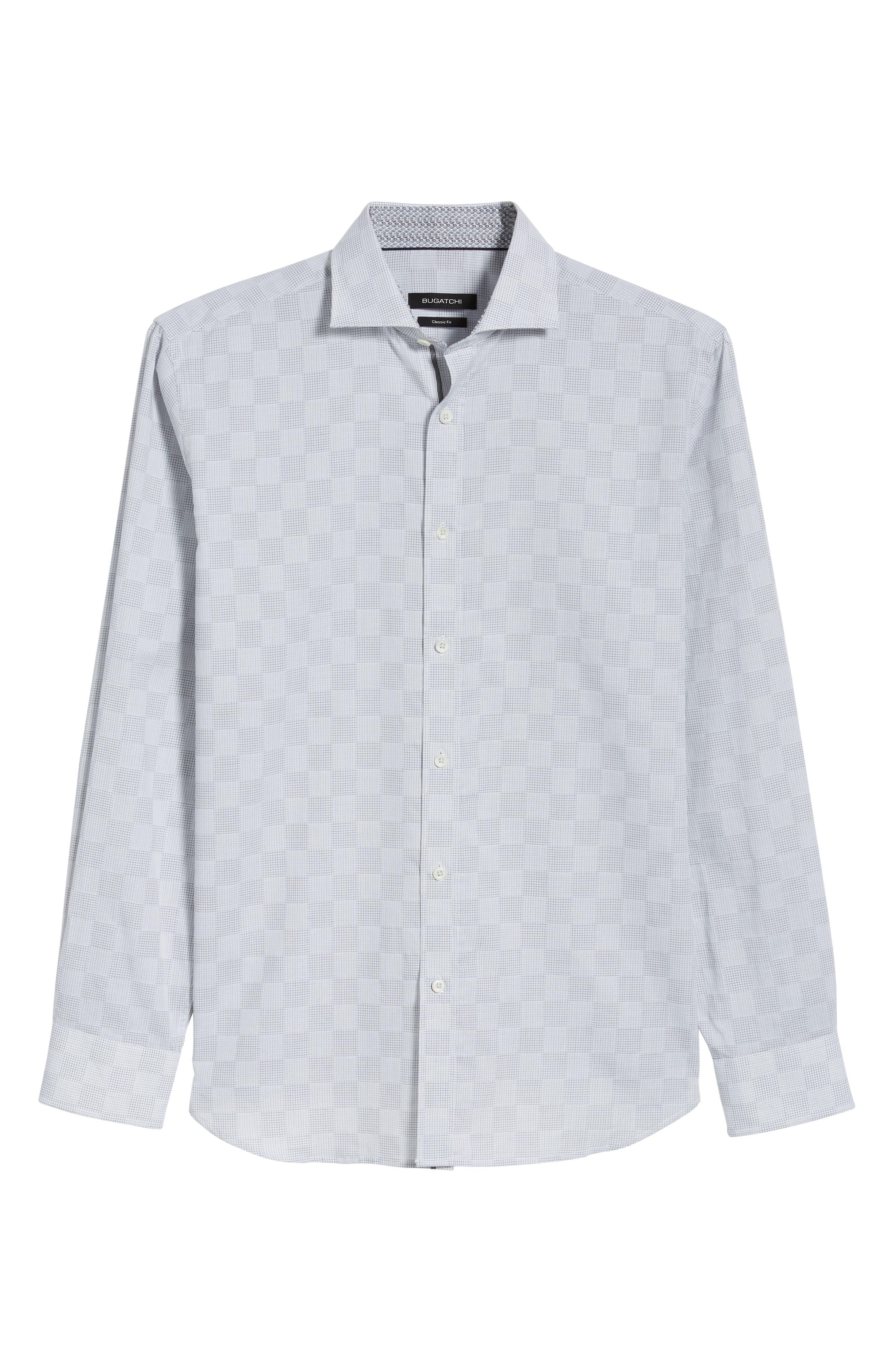 Classic Fit Checkerboard Print Sport Shirt,                             Alternate thumbnail 6, color,                             Platinum