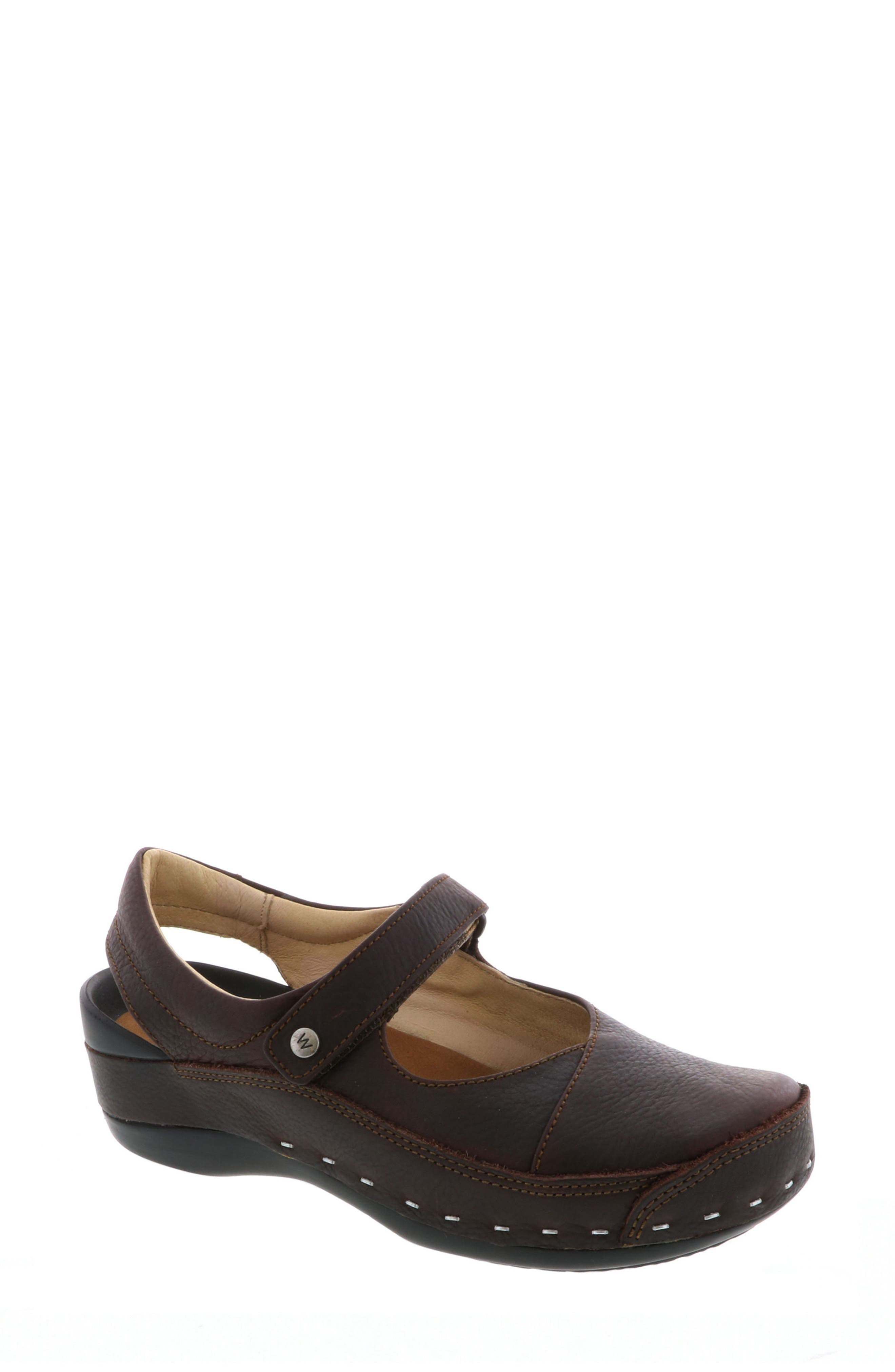 Ankle Strap Clog,                             Main thumbnail 1, color,                             Brown Leather