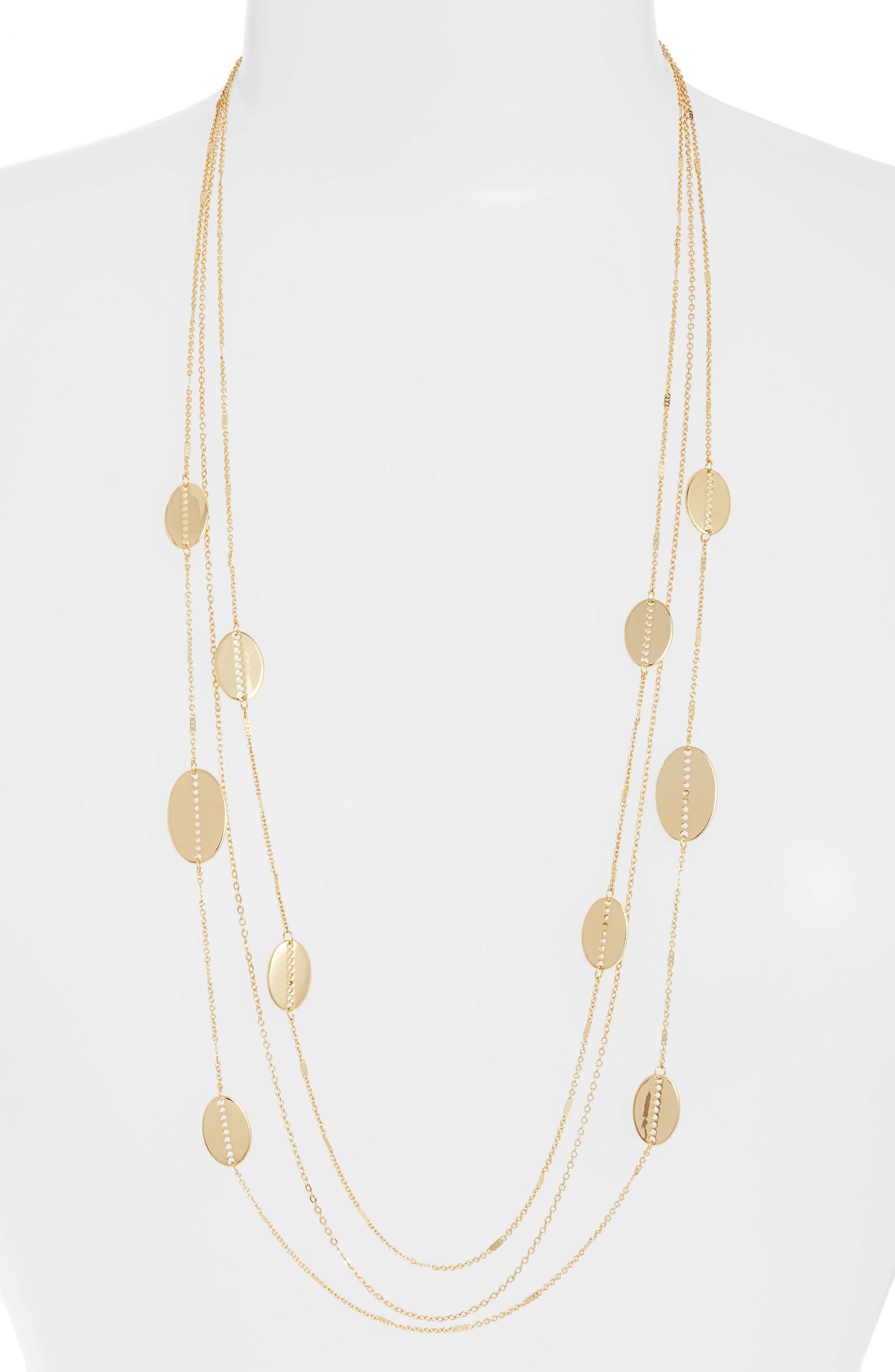 Cutout Oval Station Multistrand Necklace,                             Main thumbnail 1, color,                             Gold