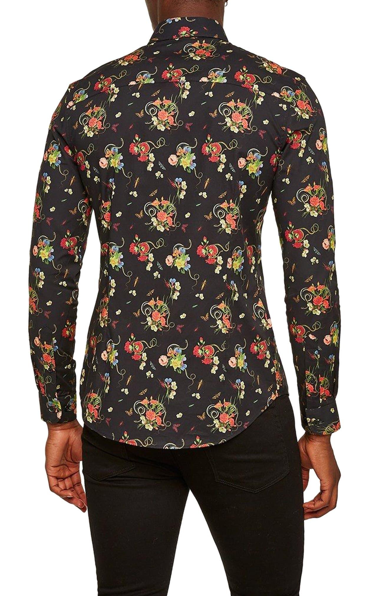 Snake Floral Print Shirt,                             Alternate thumbnail 3, color,                             Black Multi
