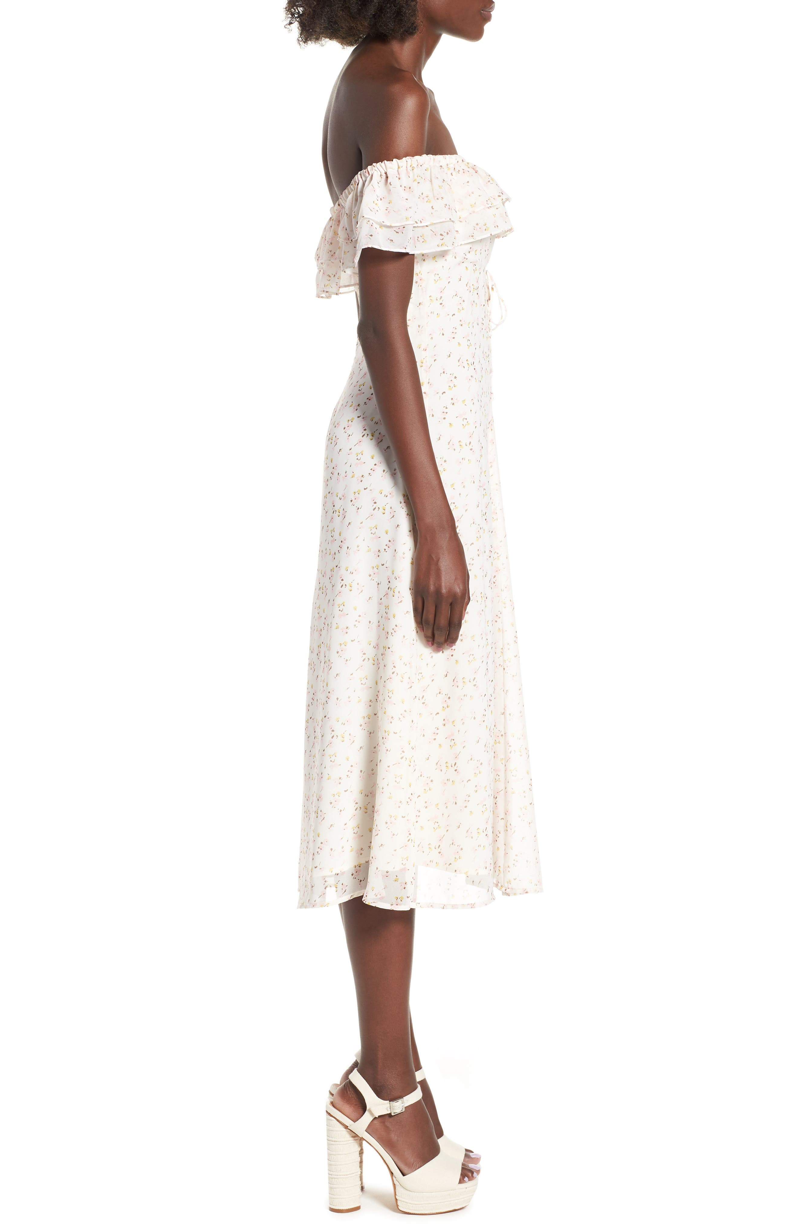 Florence Lace Off the Shoulder Midi Dress,                             Alternate thumbnail 4, color,                             Ivory Ditzy