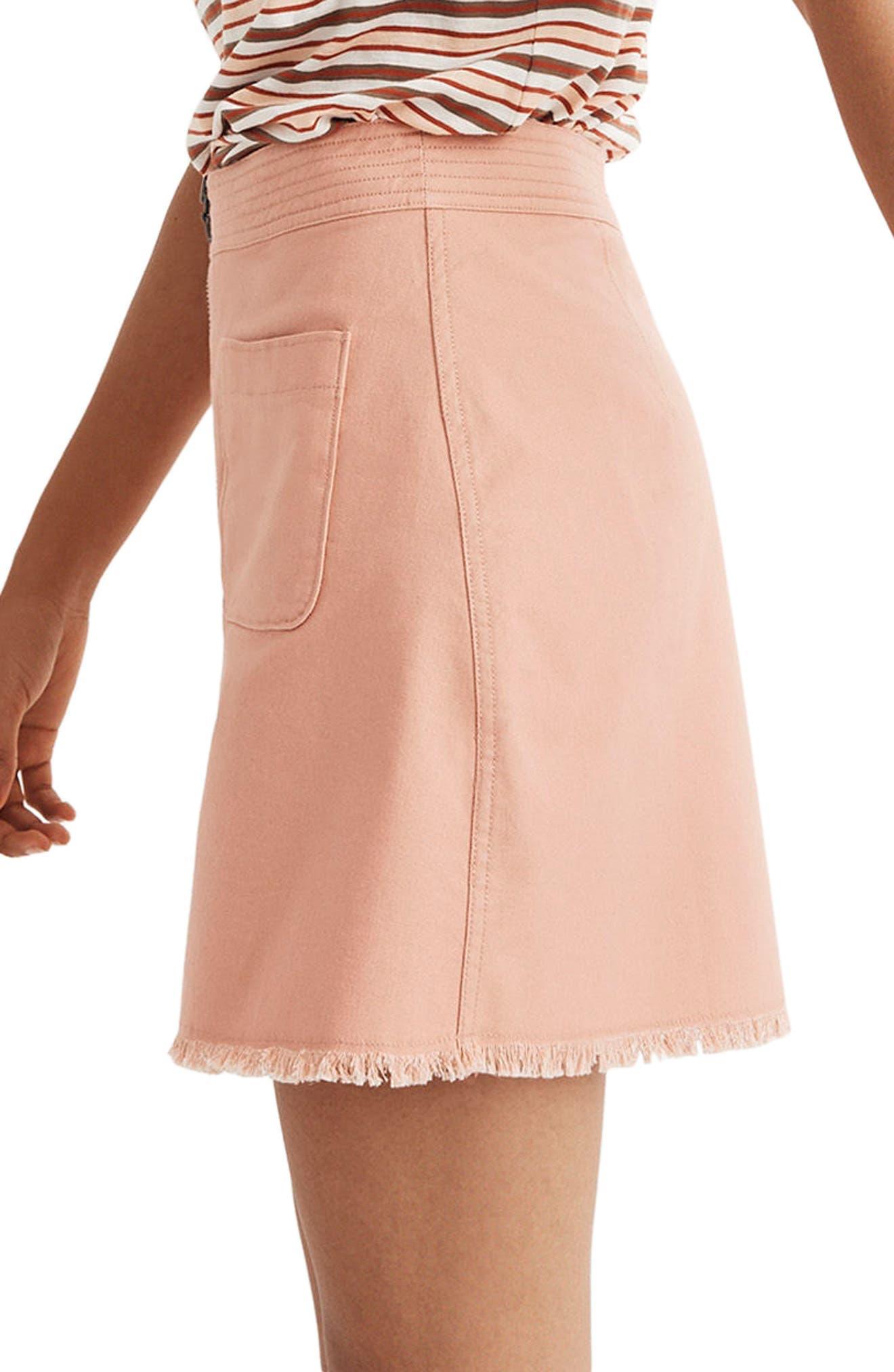 A-Line Zip Skirt,                             Alternate thumbnail 3, color,                             Antique Coral