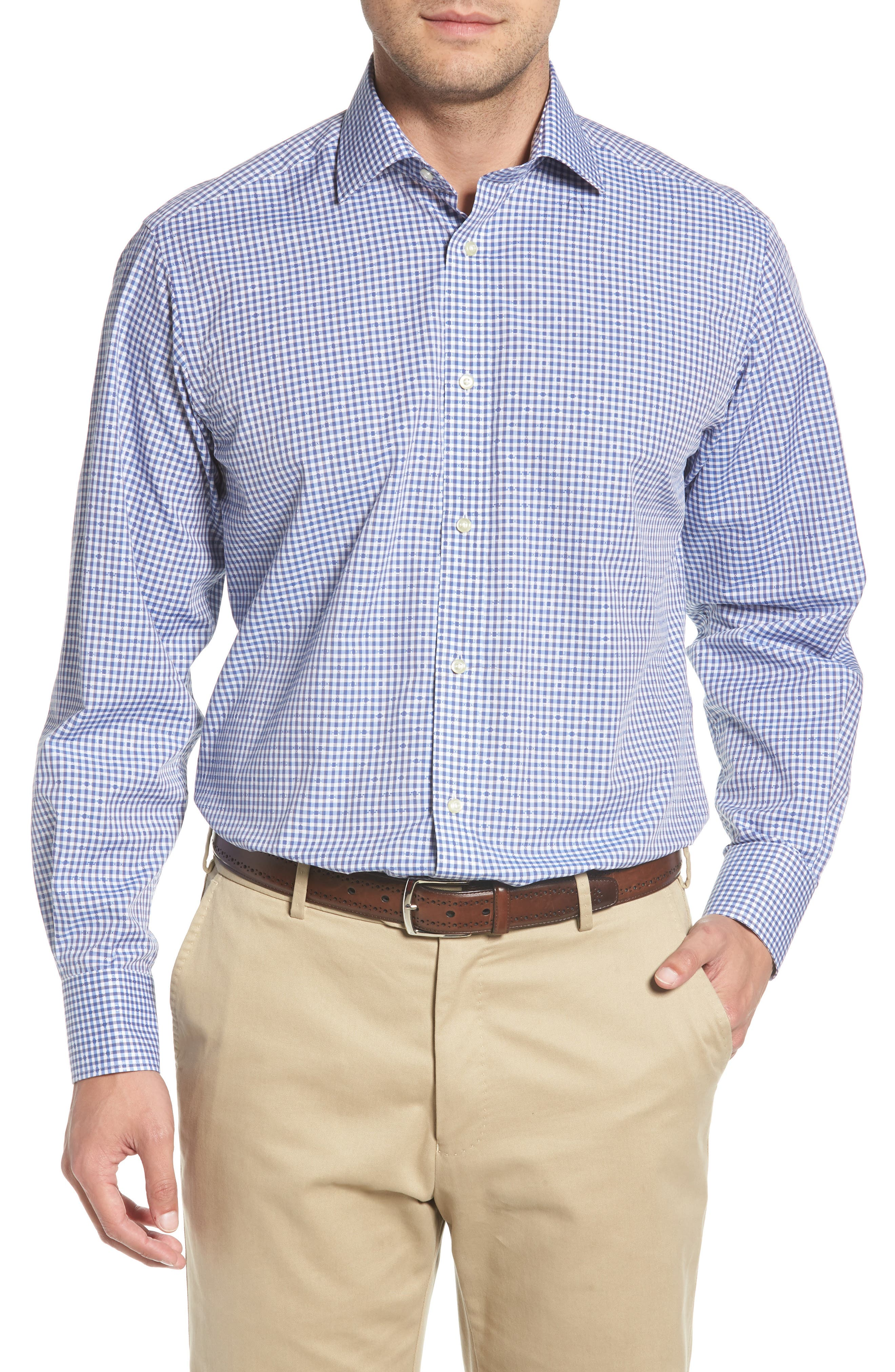 Mini Check Sport Shirt,                         Main,                         color, Blue