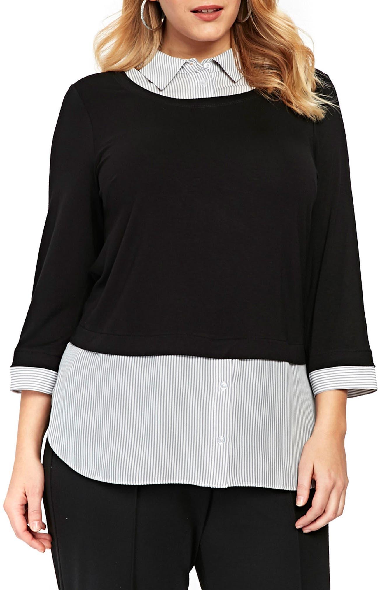 Stripe & Solid 2-in-1 Shirt,                             Main thumbnail 1, color,                             Dark Multi
