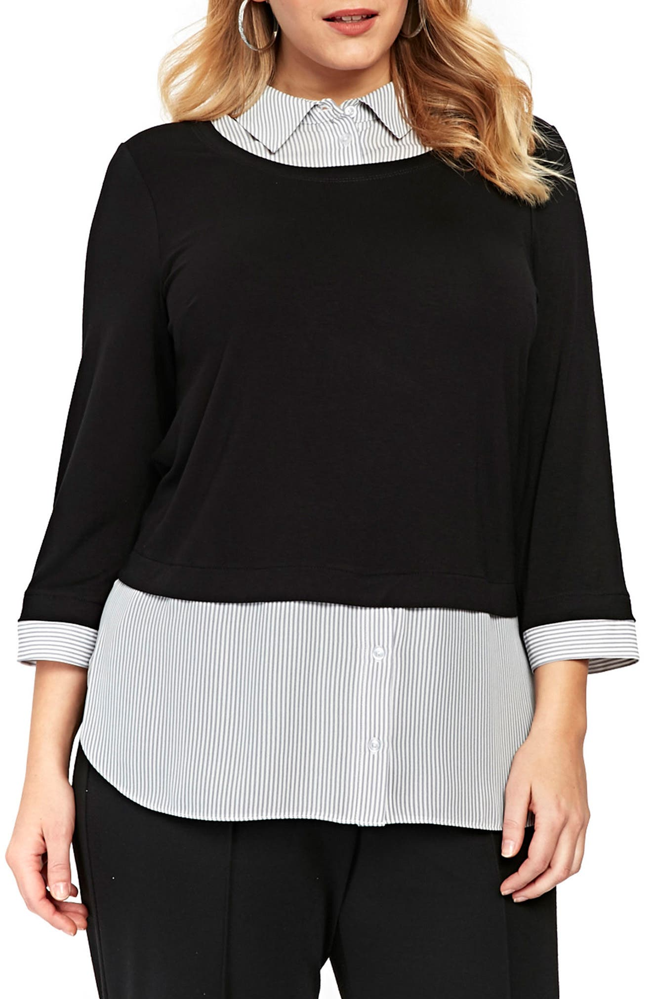 Evans Stripe & Solid 2-in-1 Shirt (Plus Size)