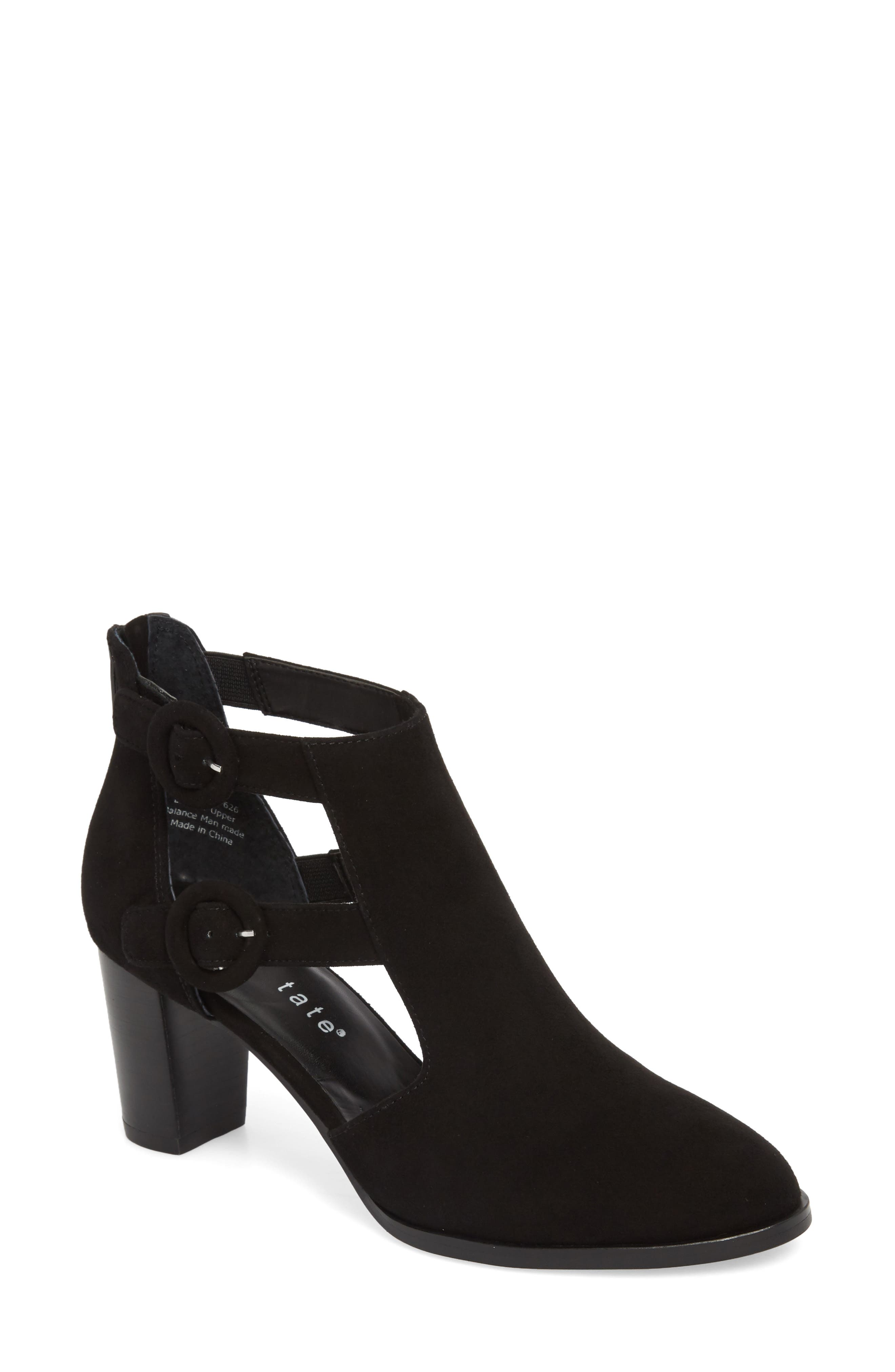 Exotic Caged Bootie,                             Main thumbnail 1, color,                             Black Suede