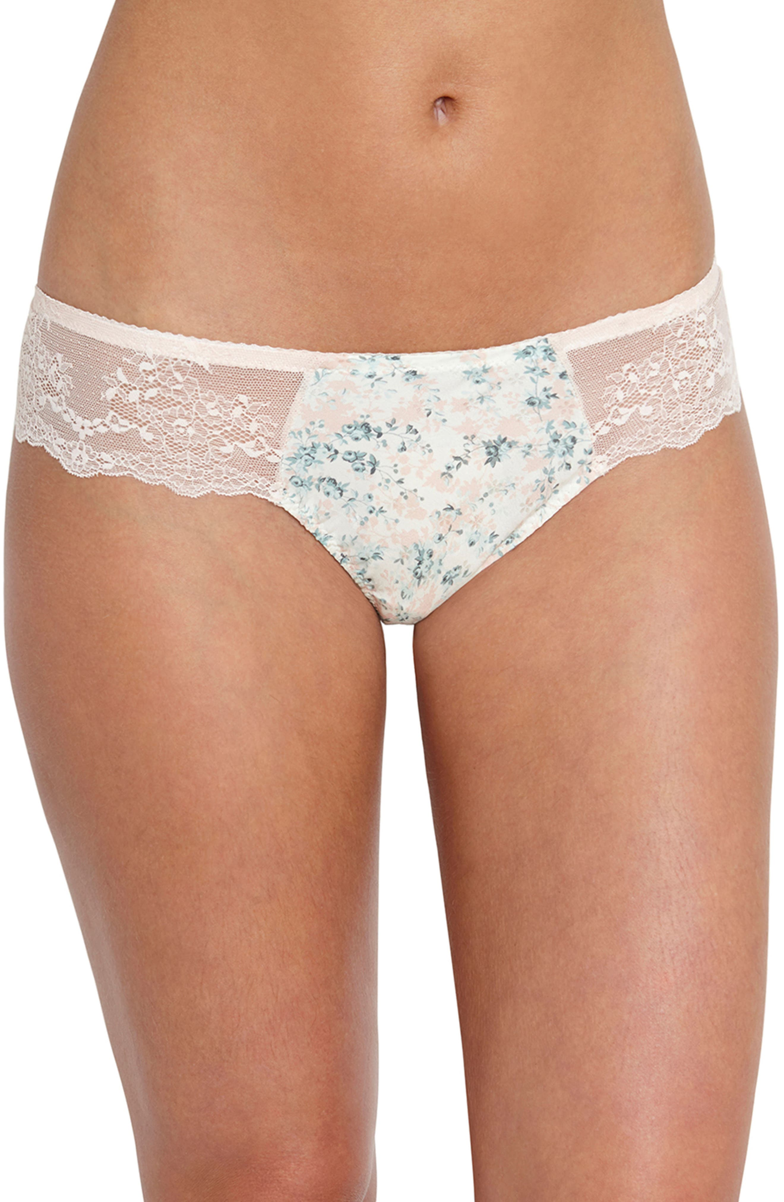 Lily Lace Silk Thong,                             Main thumbnail 1, color,                             Ivory Floral Print