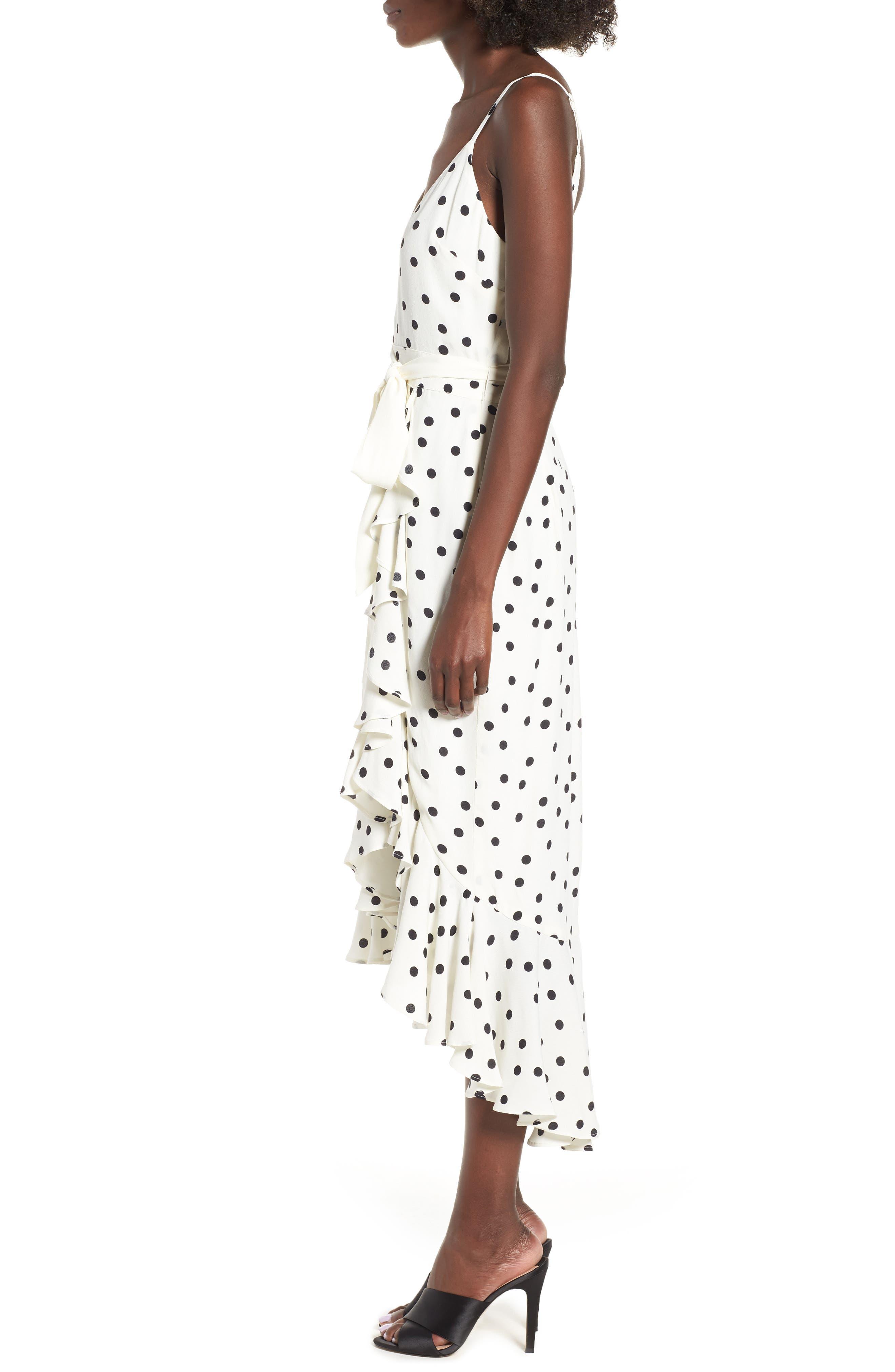 Bridget Midi Dress,                             Alternate thumbnail 3, color,                             Ivory/ Black