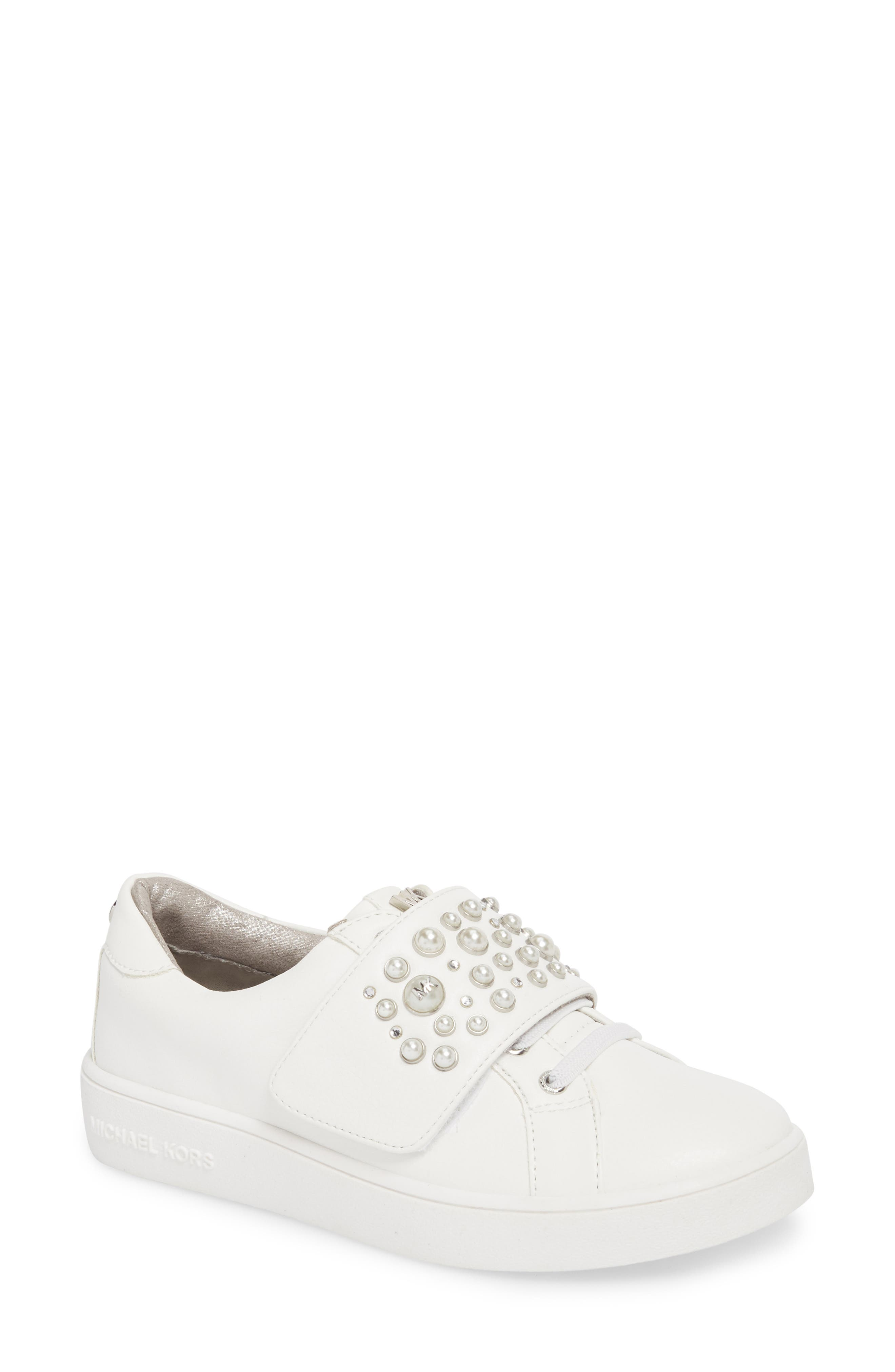 Ivy Embellished Metallic Sneaker,                         Main,                         color, White