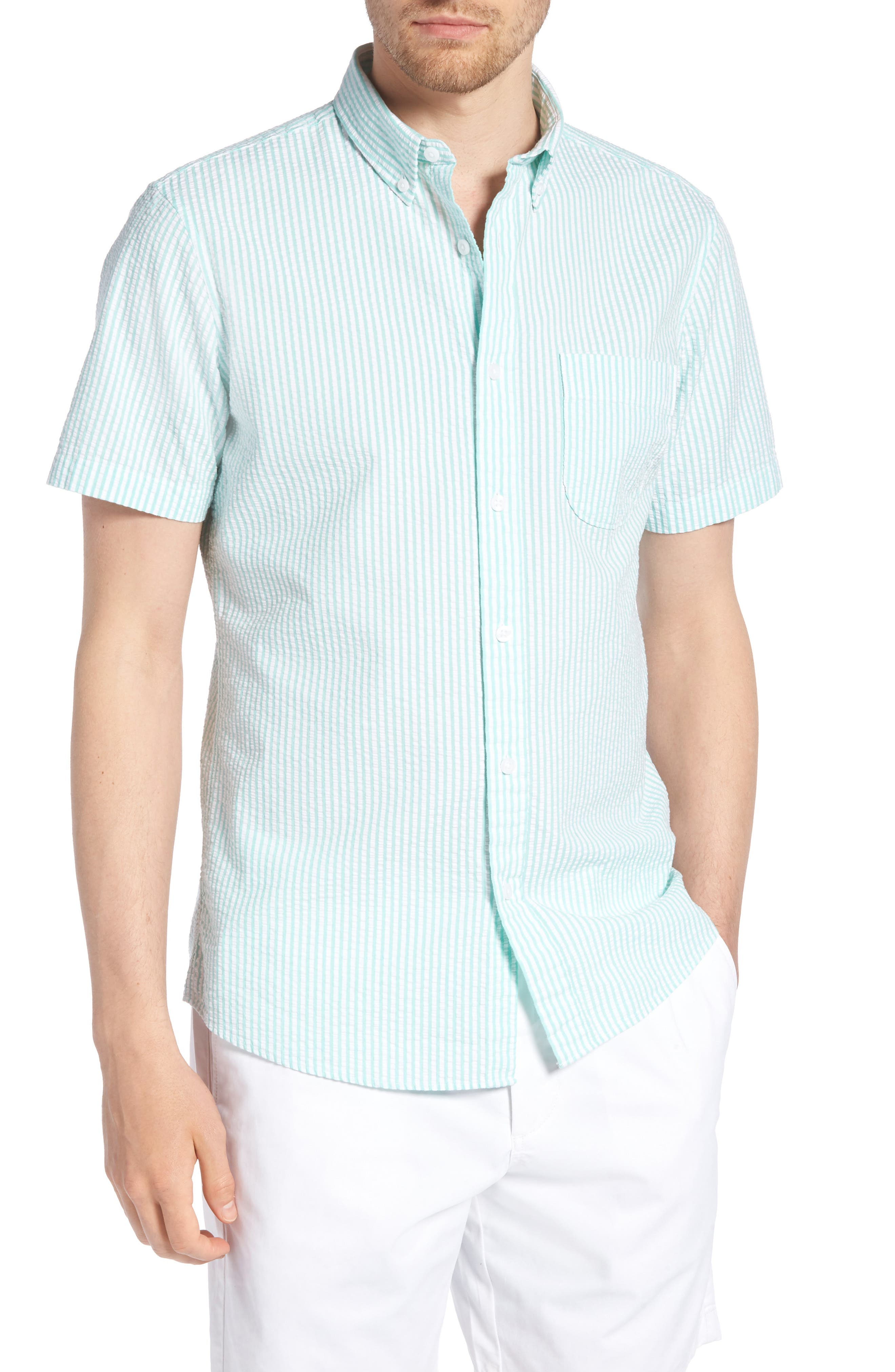Trim Fit Seersucker Short Sleeve Sport Shirt,                         Main,                         color, White Green Seersucker Stripe