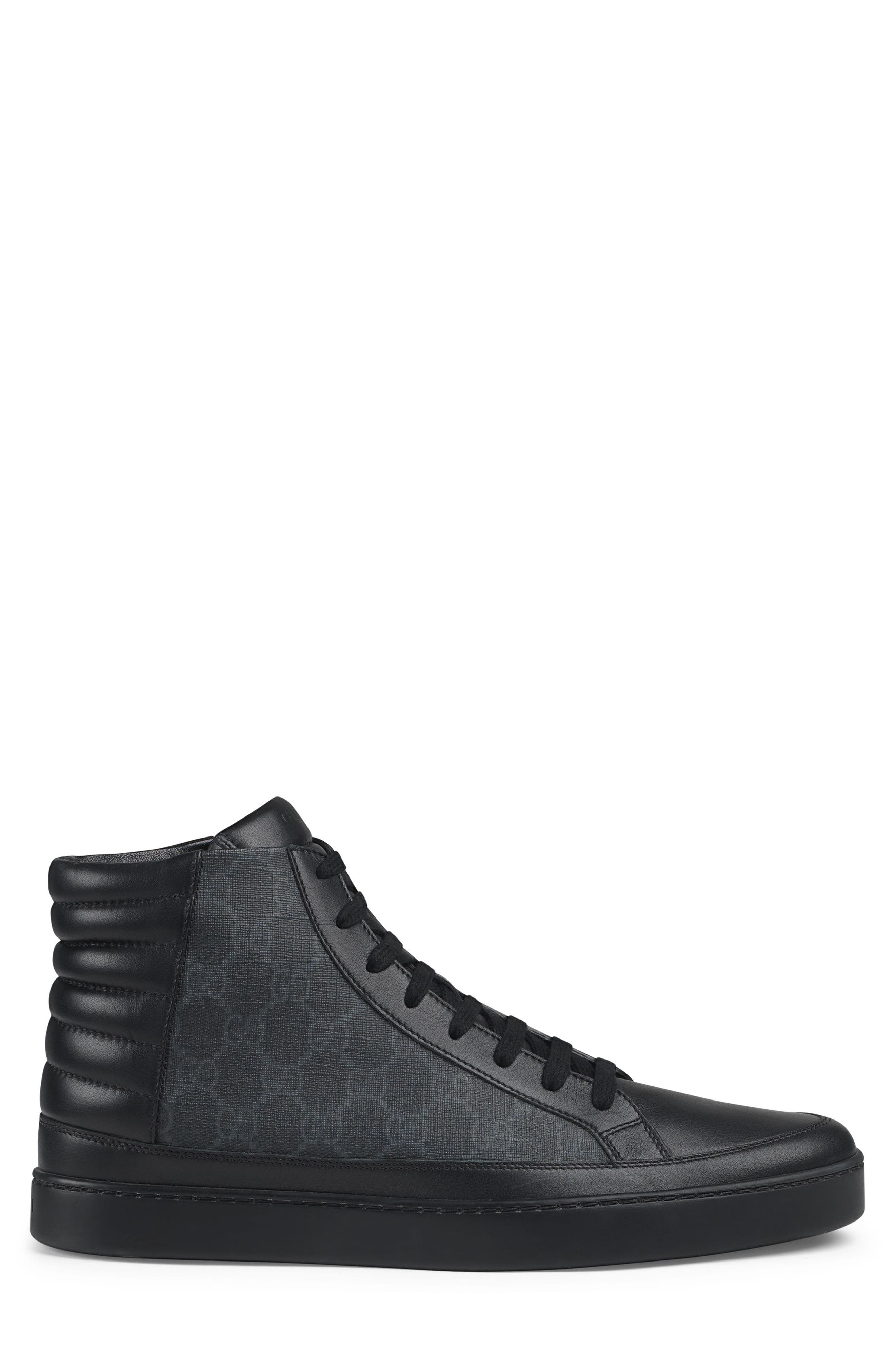 'Common' High Top Sneaker,                             Alternate thumbnail 2, color,                             Nero Leather