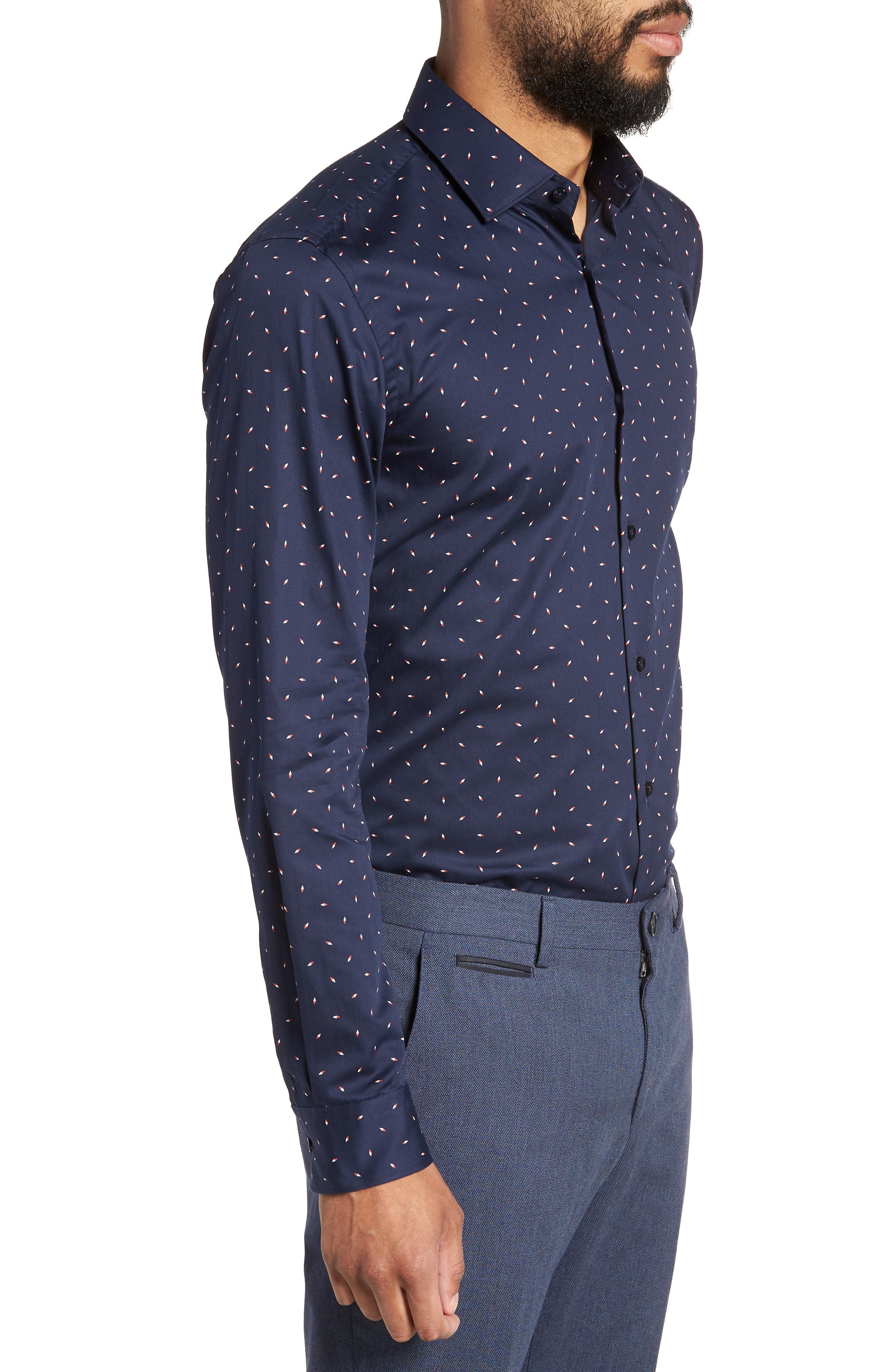 Ismo Slim Fit Print Dress Shirt,                             Alternate thumbnail 4, color,                             Navy