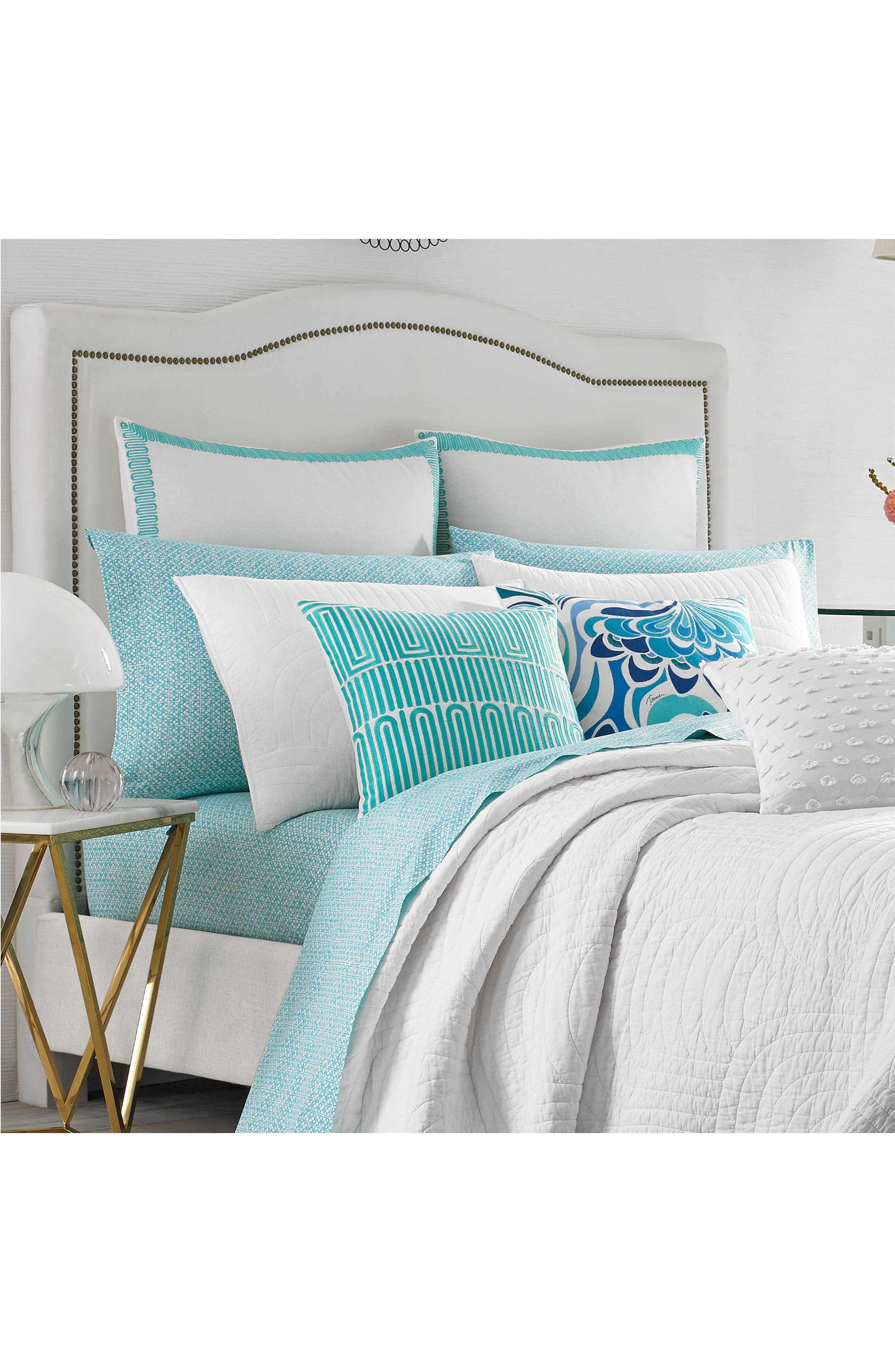 Racket Club Accent Pillow,                             Alternate thumbnail 3, color,                             Turquoise