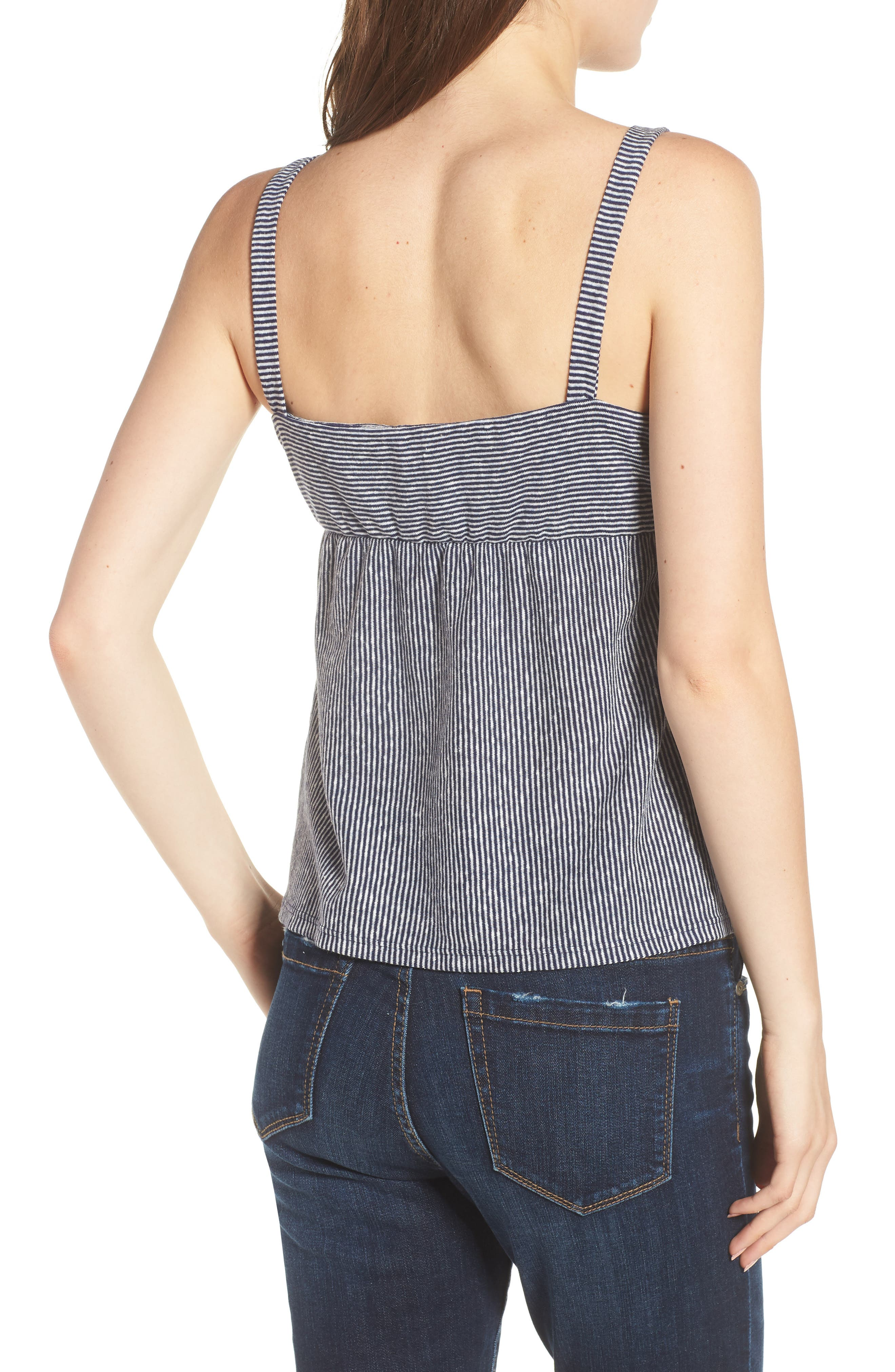 Knot Front Tank Top,                             Alternate thumbnail 2, color,                             Navy/ Off White