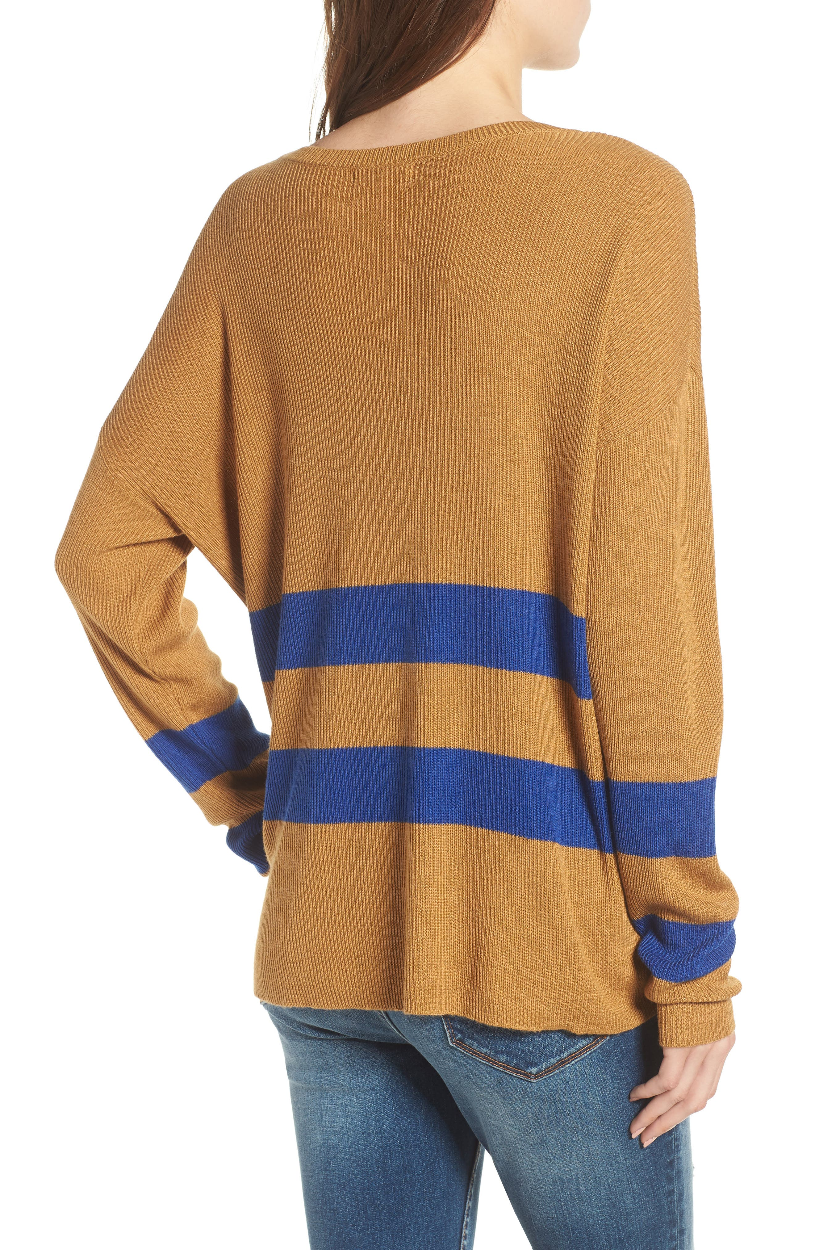 Varsity Stripe Sweater,                             Alternate thumbnail 2, color,                             Brown Cattail Kenzie Stripe