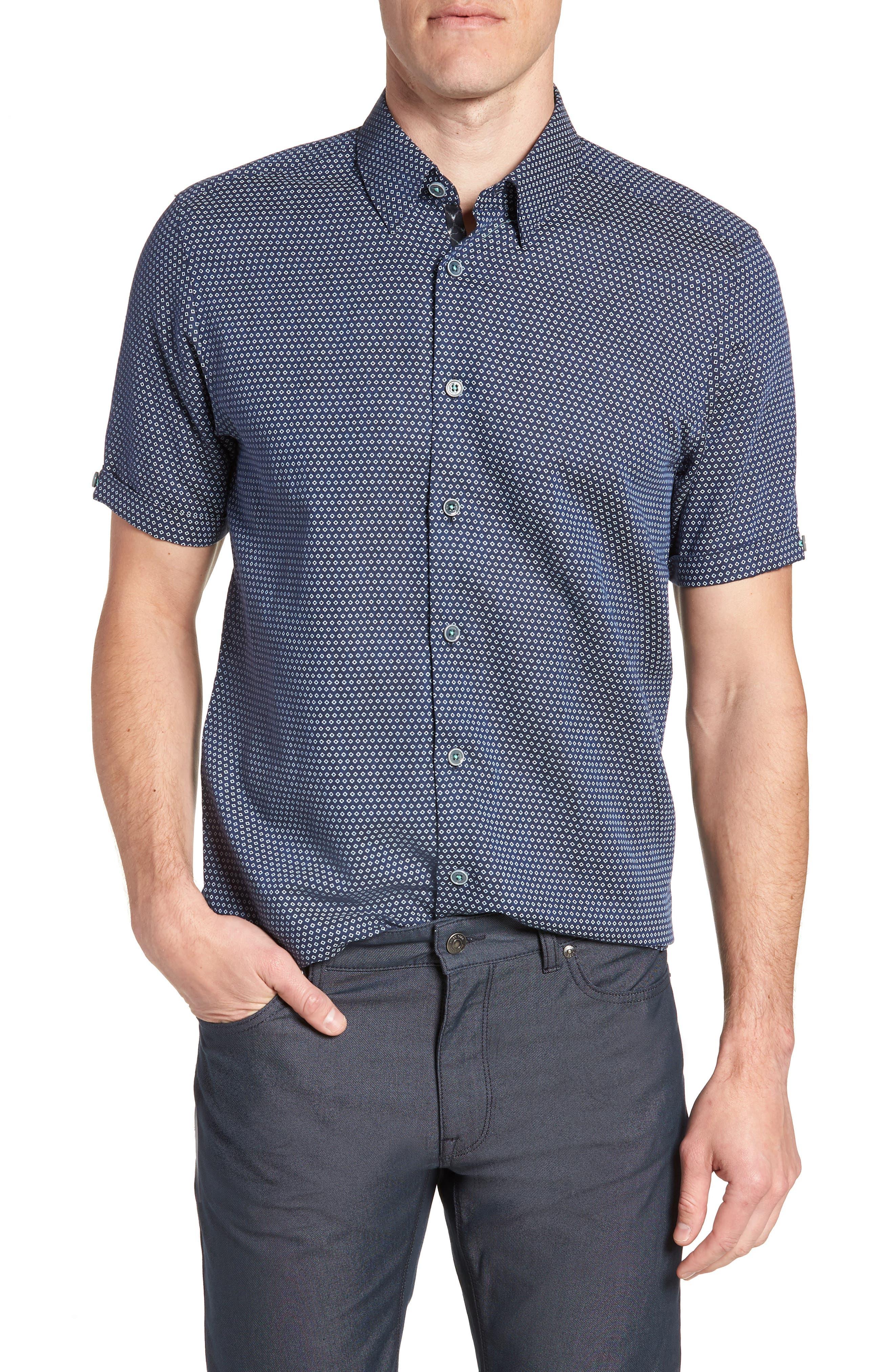 Sirobtt Short Sleeve Sport Shirt,                         Main,                         color, Navy