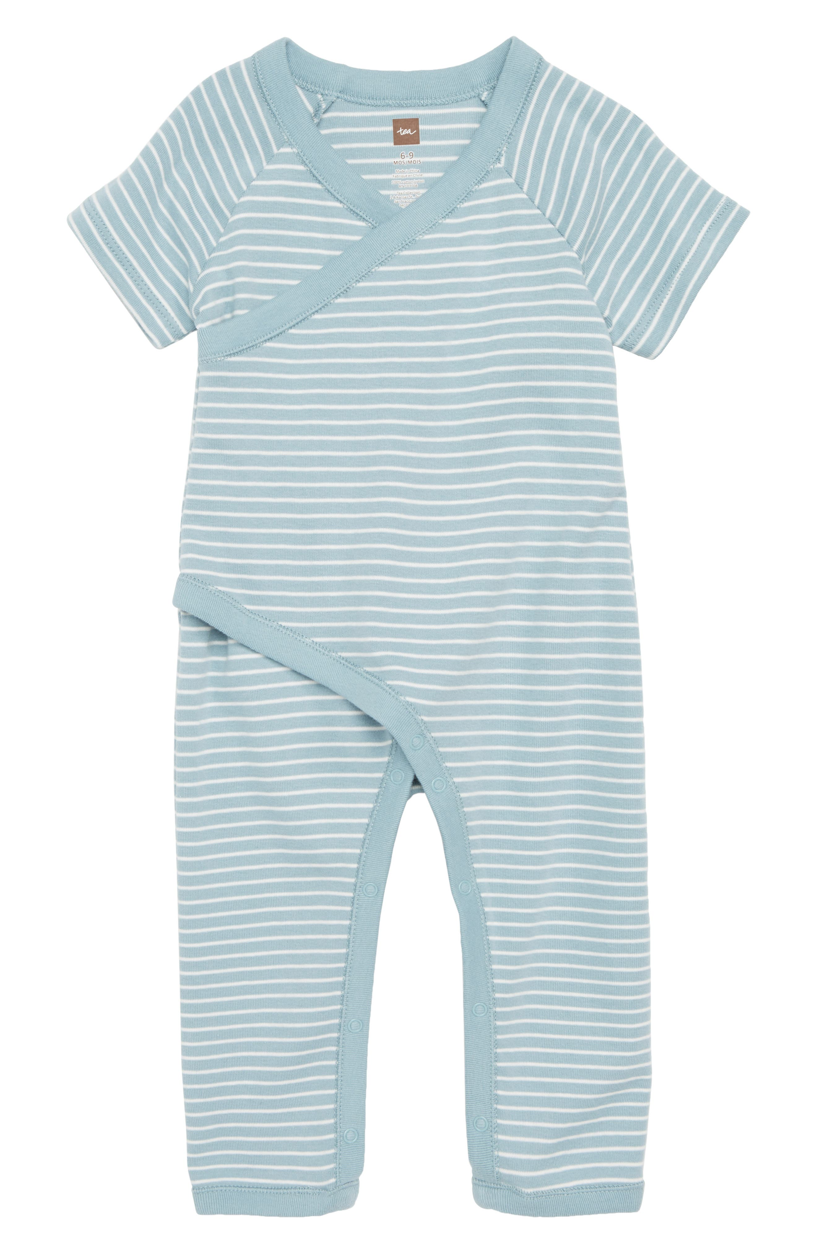 Stripe Wrap Romper,                         Main,                         color, Tourmaline