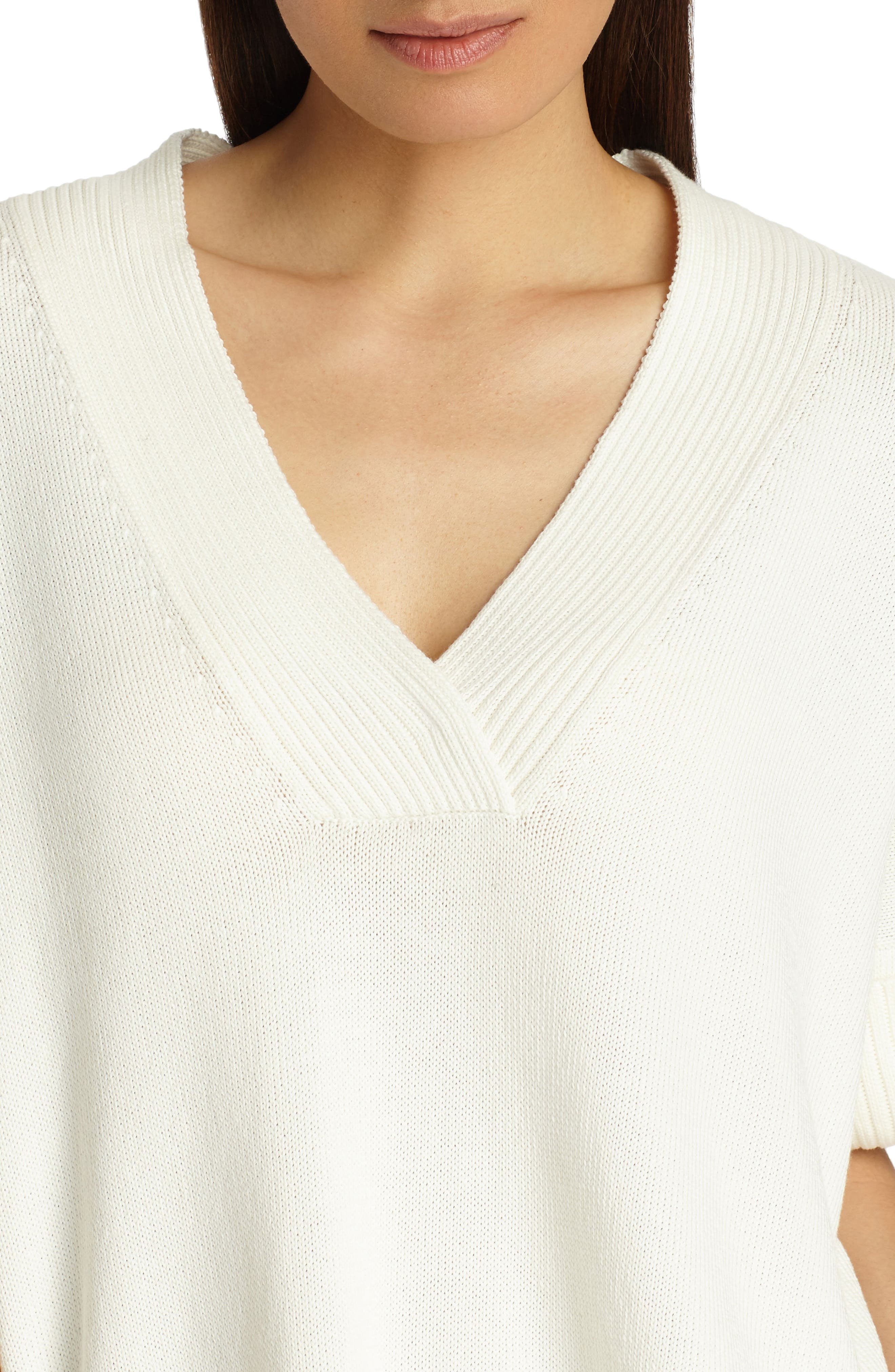 Relaxed V-Neck Cotton & Silk Sweater,                             Alternate thumbnail 4, color,                             Cloud