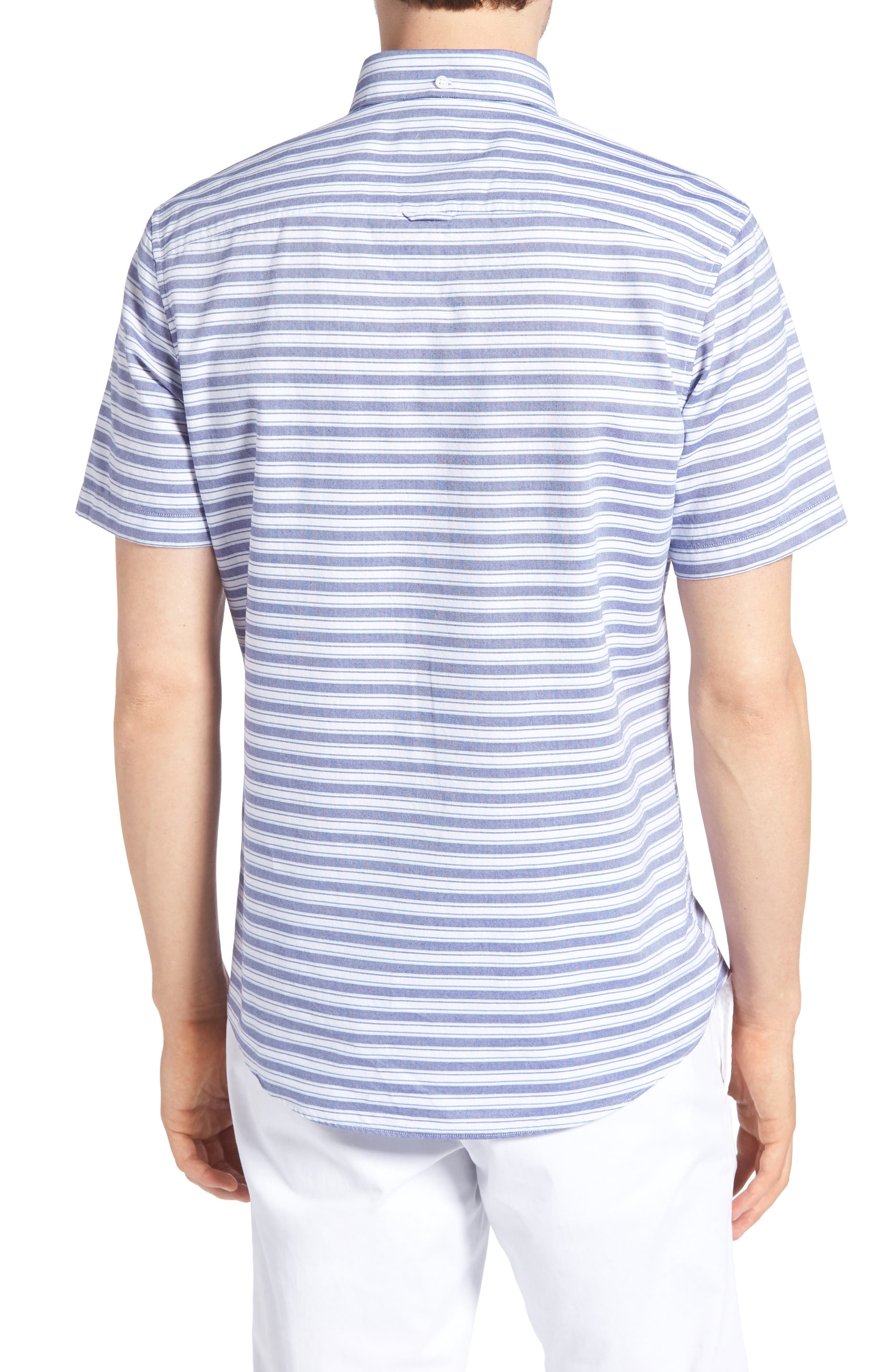 Trim Fit Stripe Round Pocket Sport Shirt,                             Alternate thumbnail 3, color,                             Tonal Blue Stripe