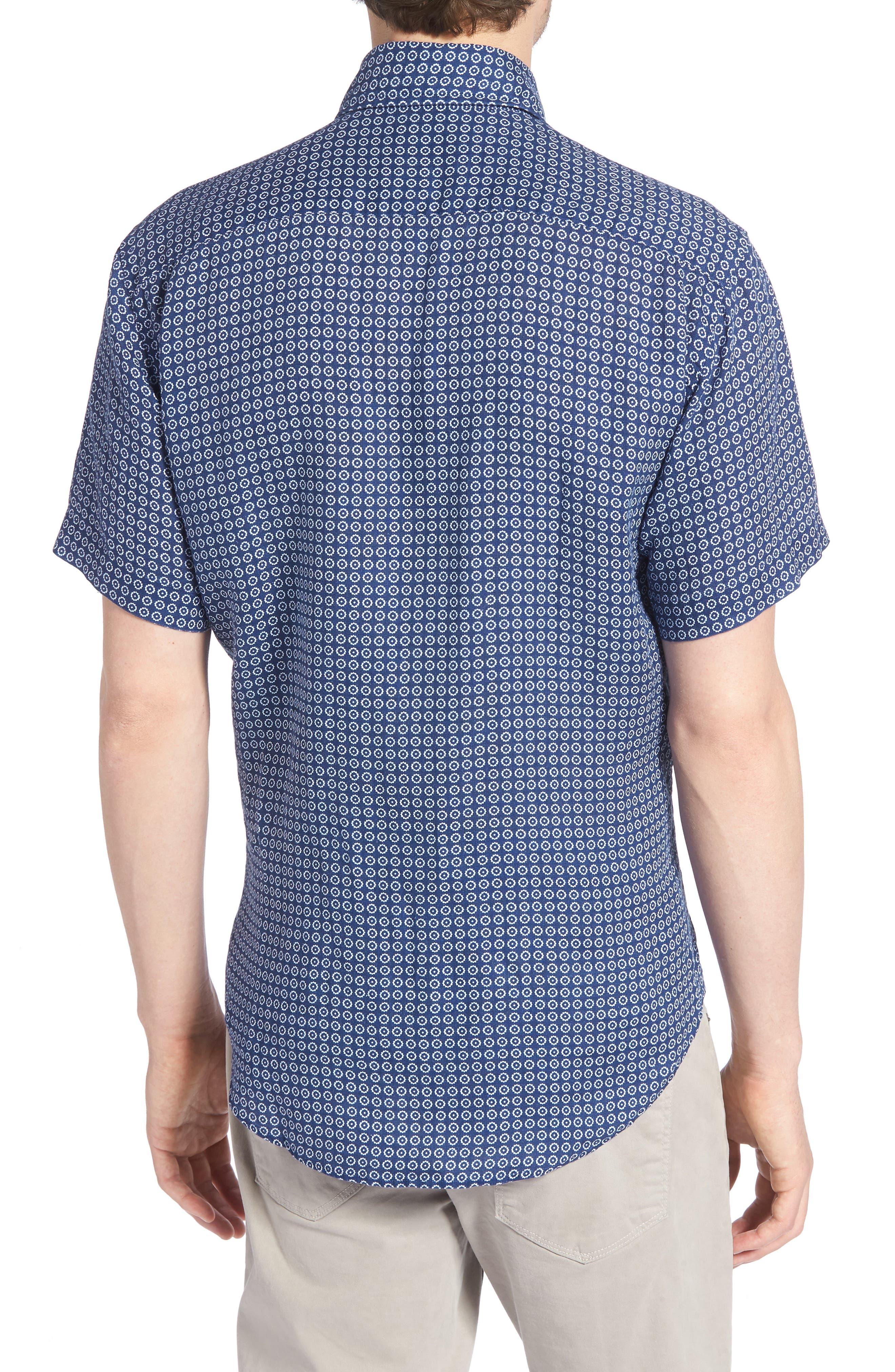 Windham Print Classic Fit Linen Sport Shirt,                             Alternate thumbnail 3, color,                             Navy