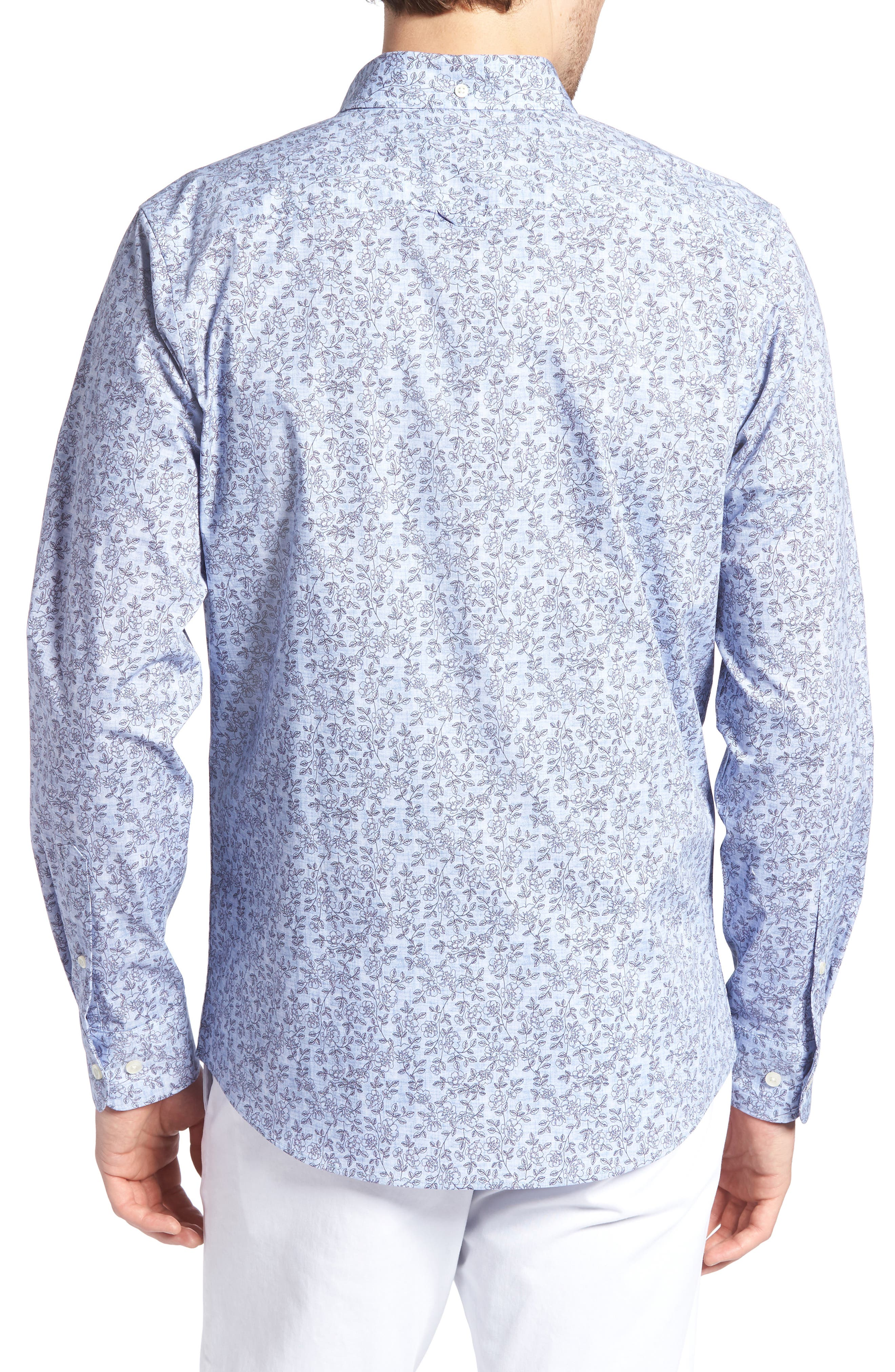 Trim Fit Chambray Floral Print Sport Shirt,                             Alternate thumbnail 3, color,                             Chambray Flower Print