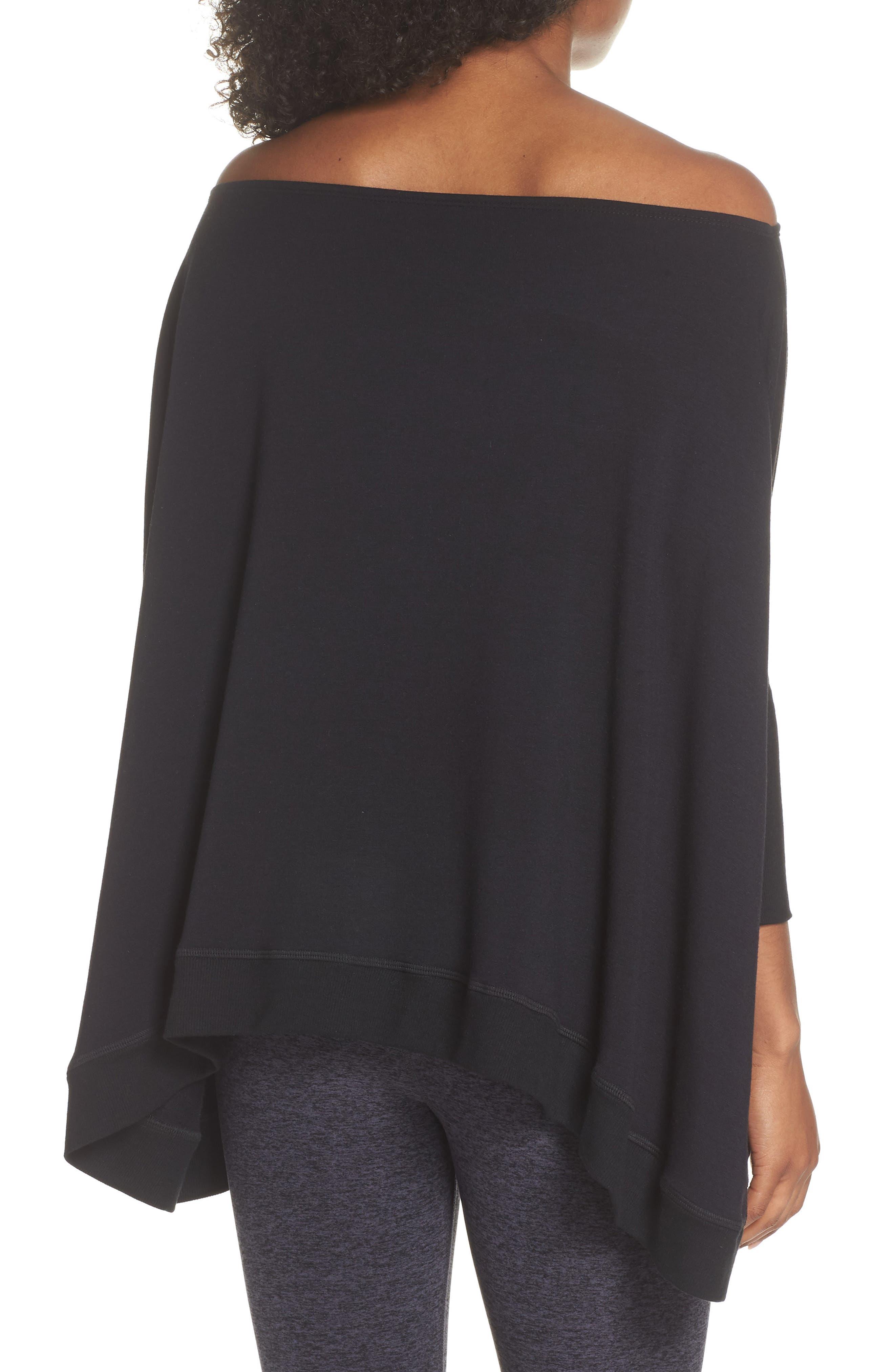 'Cozy' Convertible Fleece Pullover,                             Alternate thumbnail 4, color,                             Black