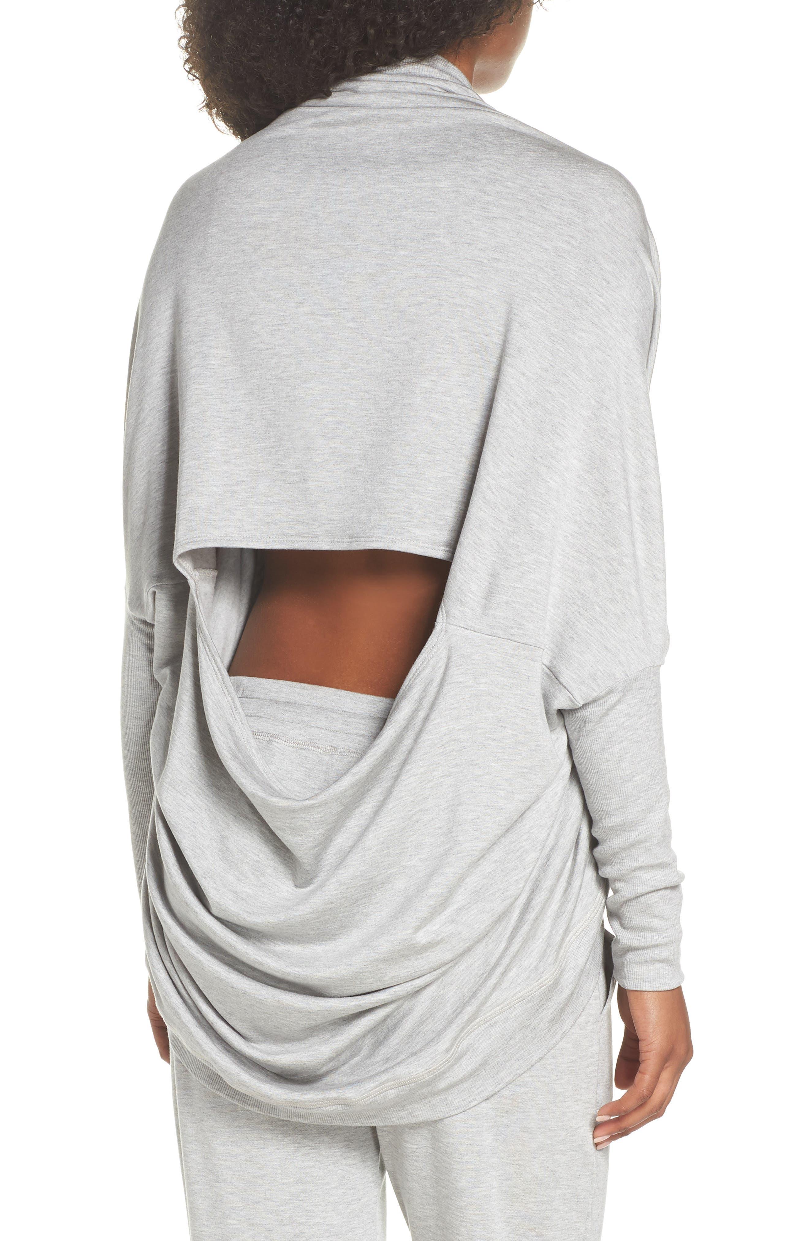 'Cozy' Convertible Fleece Pullover,                             Alternate thumbnail 3, color,                             Light Heather Gray
