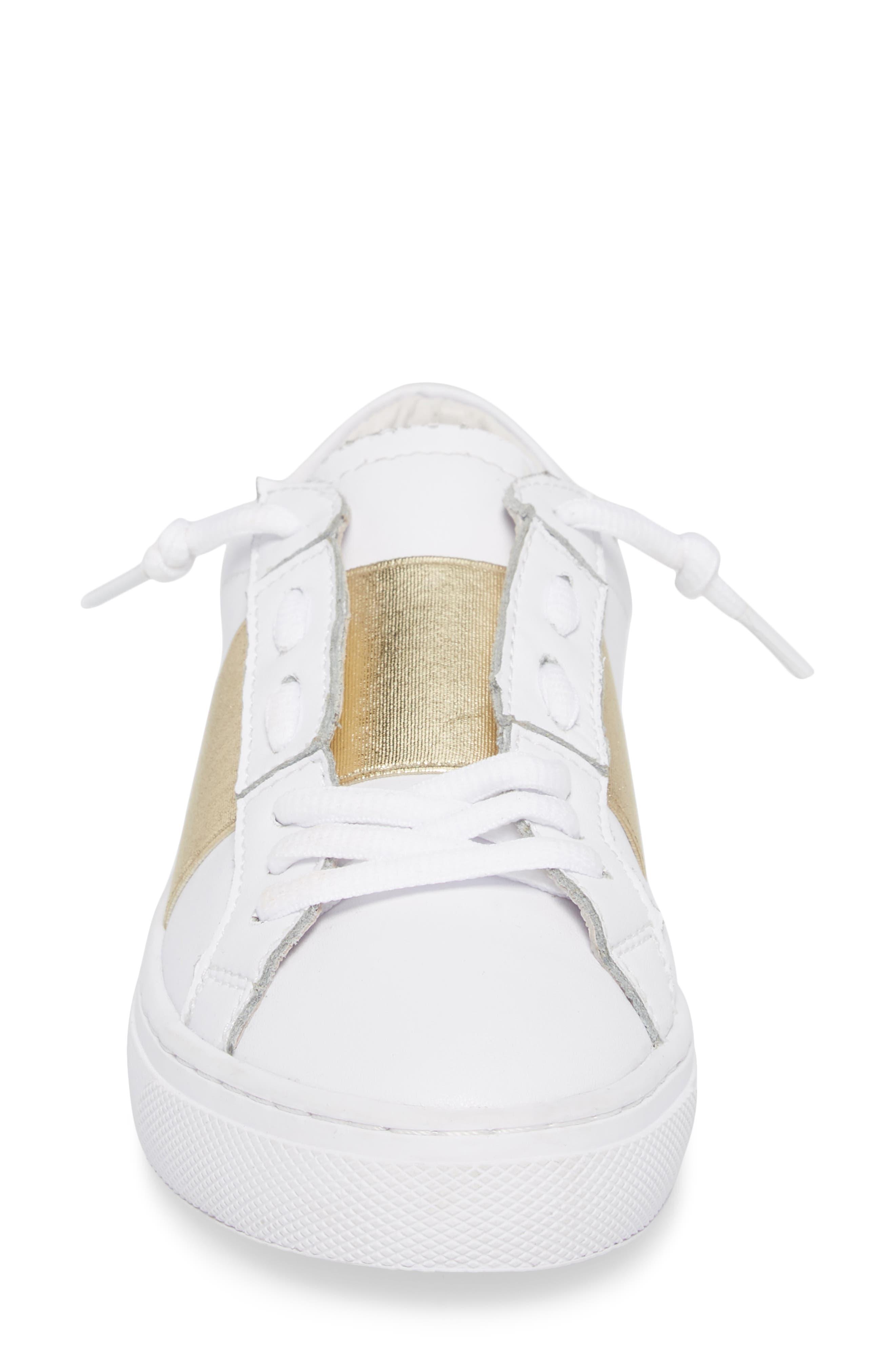 Slip-On Sneaker,                             Alternate thumbnail 4, color,                             Gold Elastic Leather