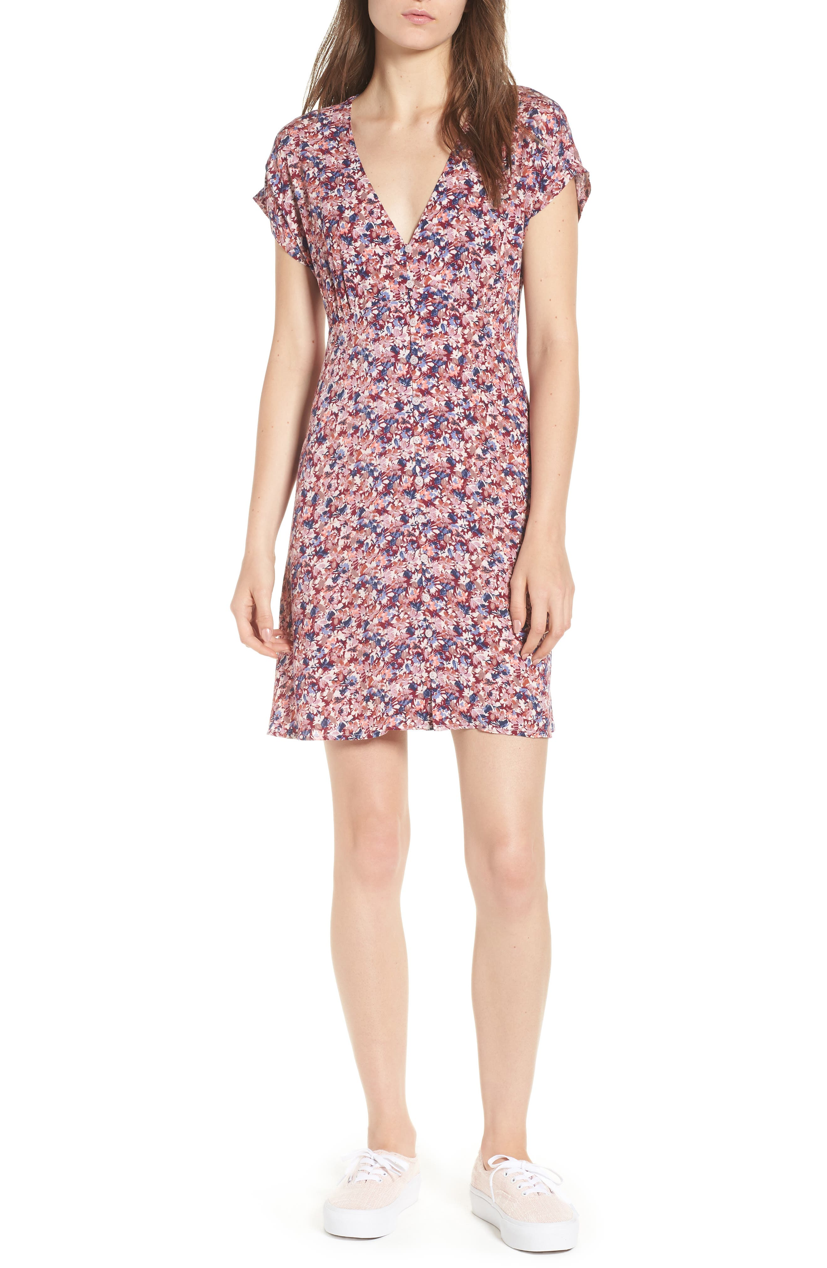 Floral Print Button Front Dress,                             Main thumbnail 1, color,                             Pink Floral