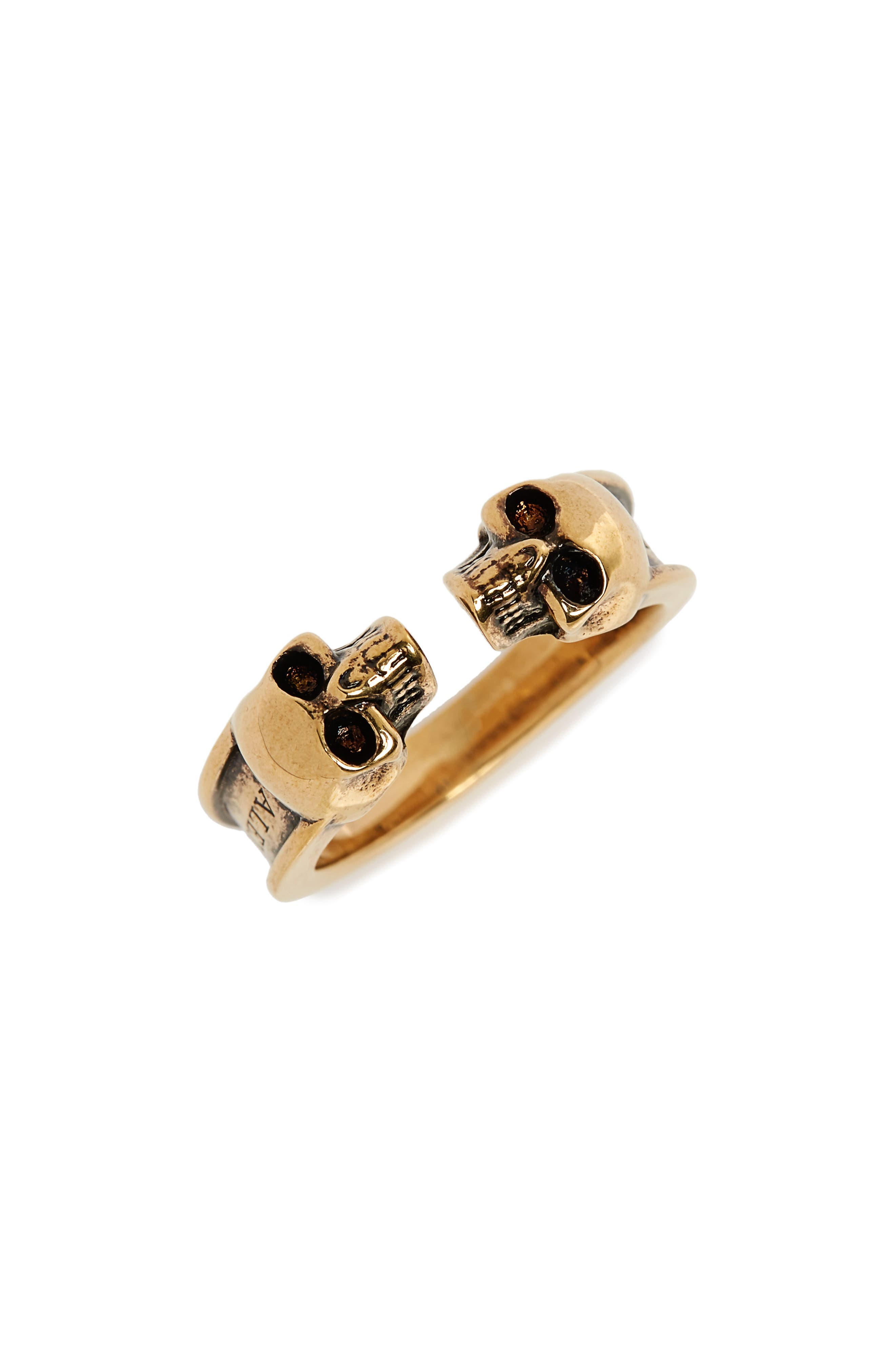 Alexander McQueen Twin Skull Brass Ring