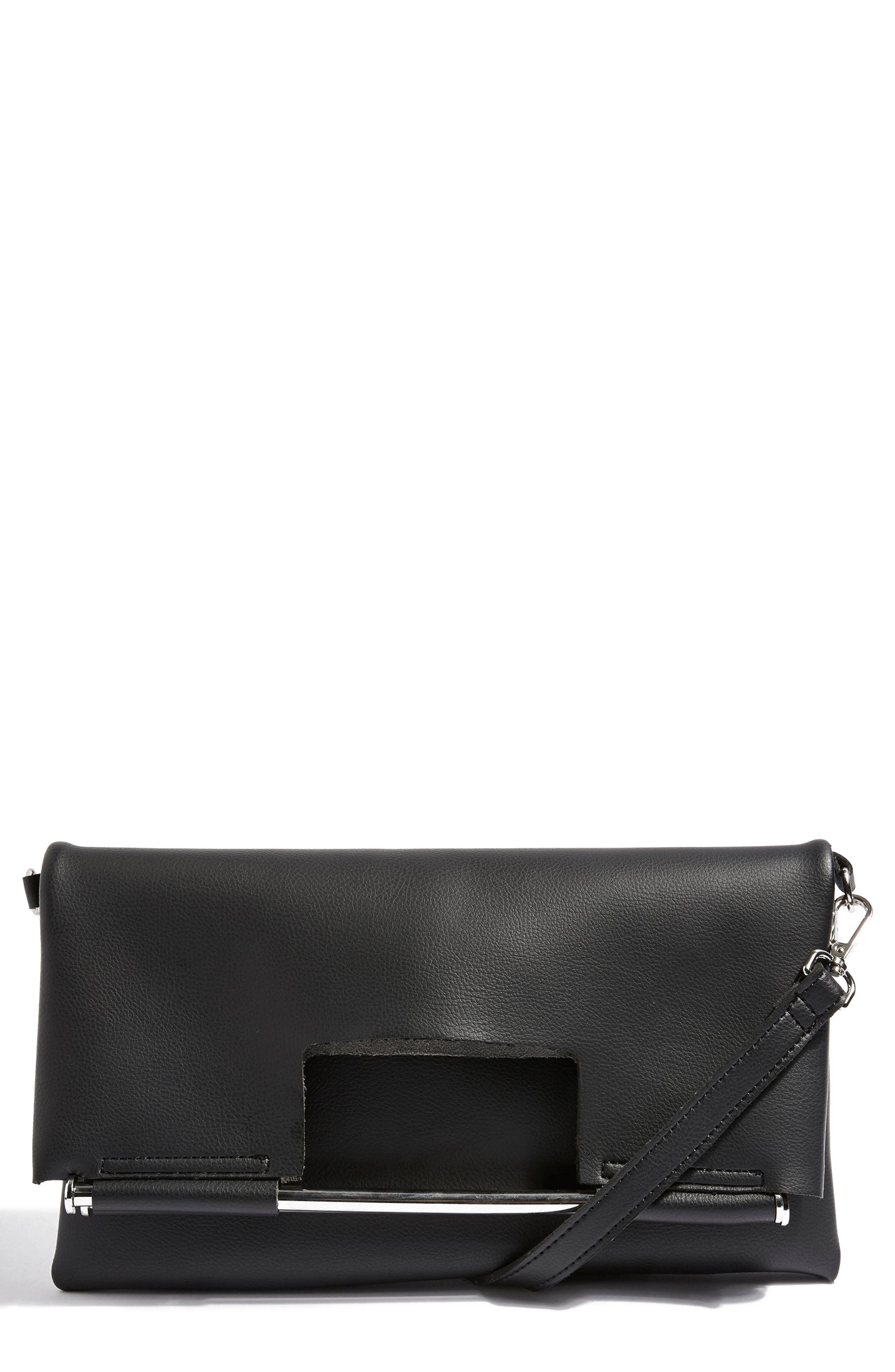 Lotus Metal Handle Clutch Bag,                             Main thumbnail 1, color,                             Black