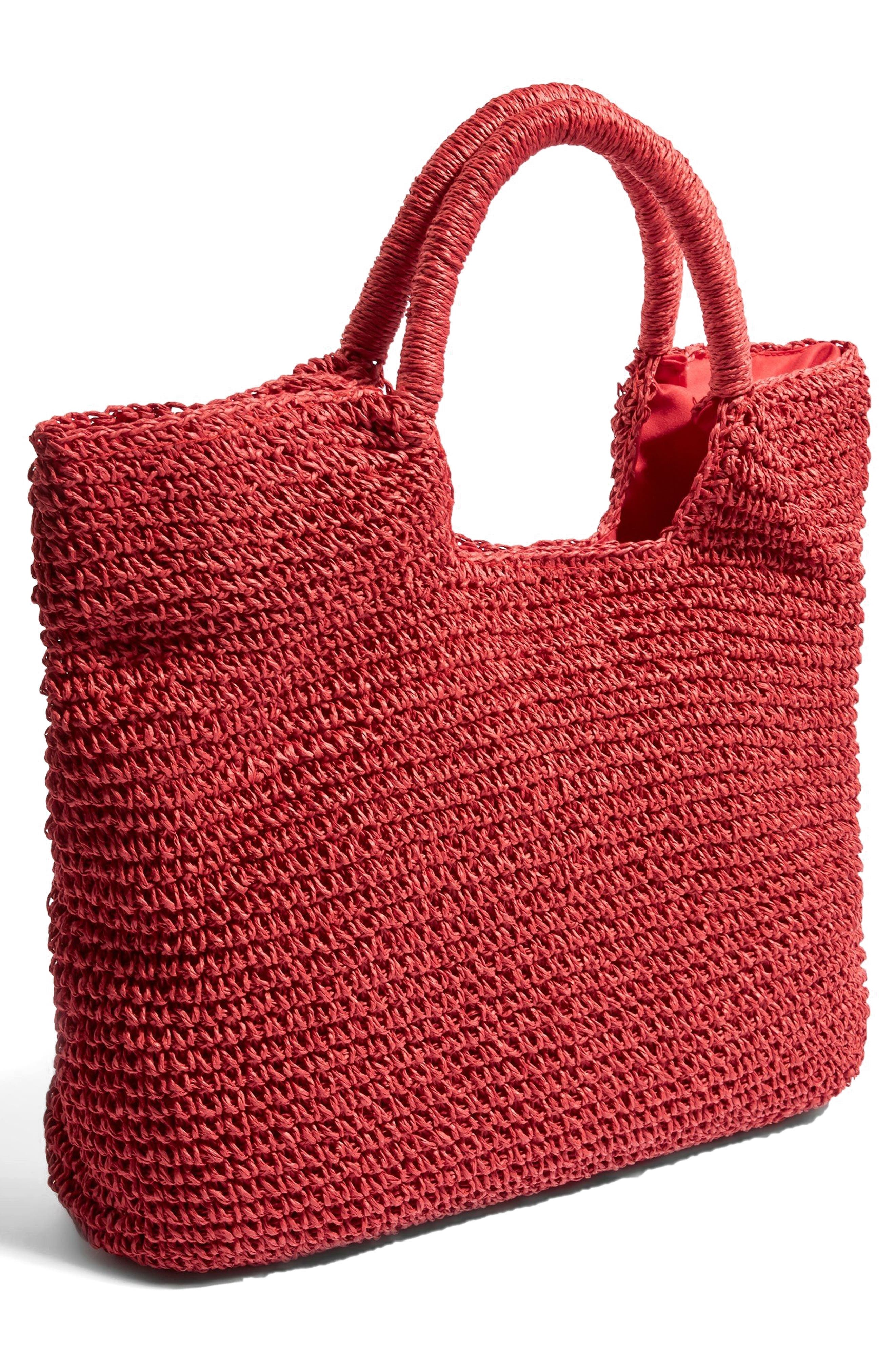 Brighty Straw Tote Bag,                             Alternate thumbnail 3, color,                             Red