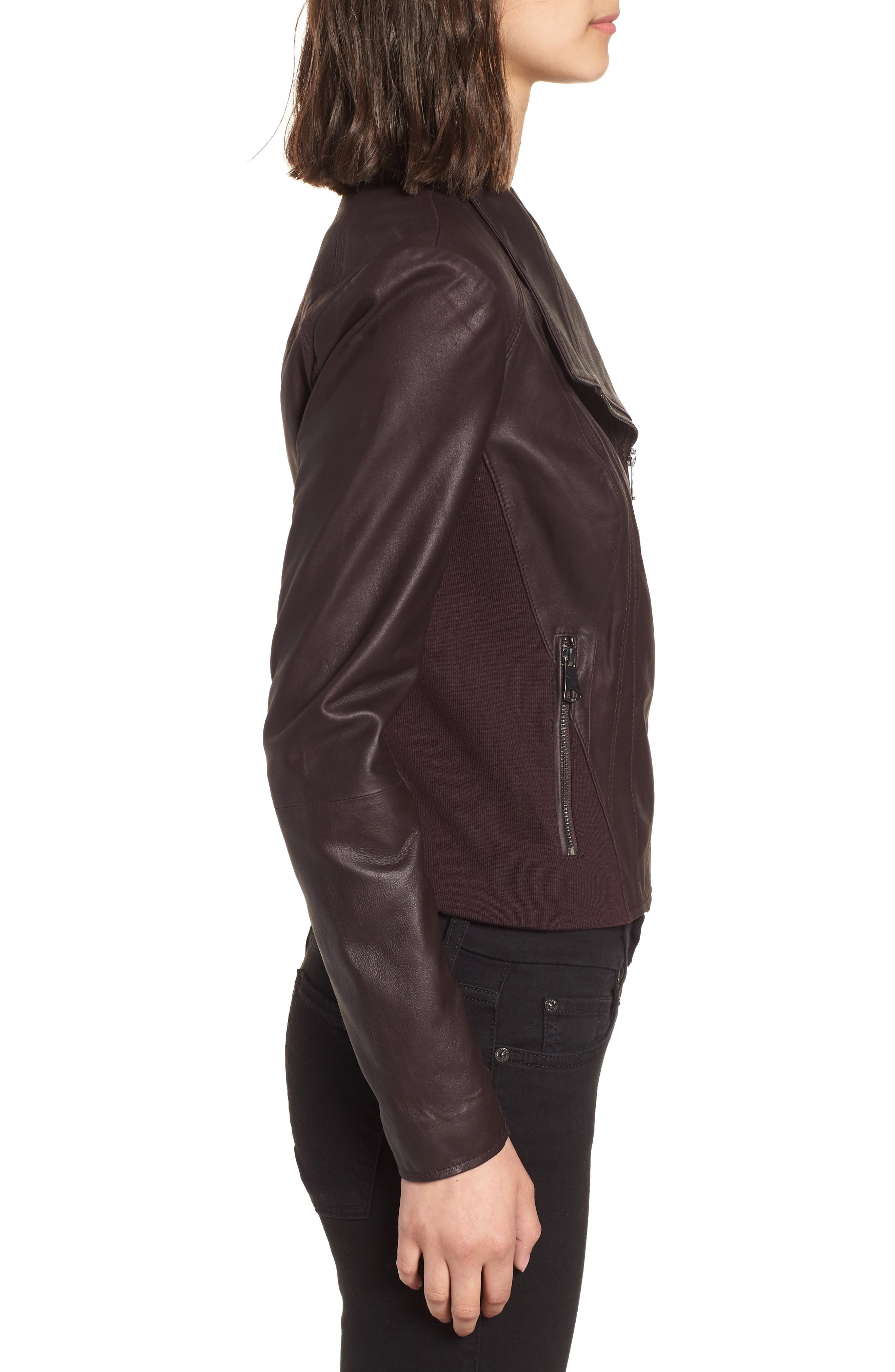 Marc New York by Andrew Marc 'Felix' Stand Collar Leather Jacket,                             Alternate thumbnail 3, color,                             Burgundy