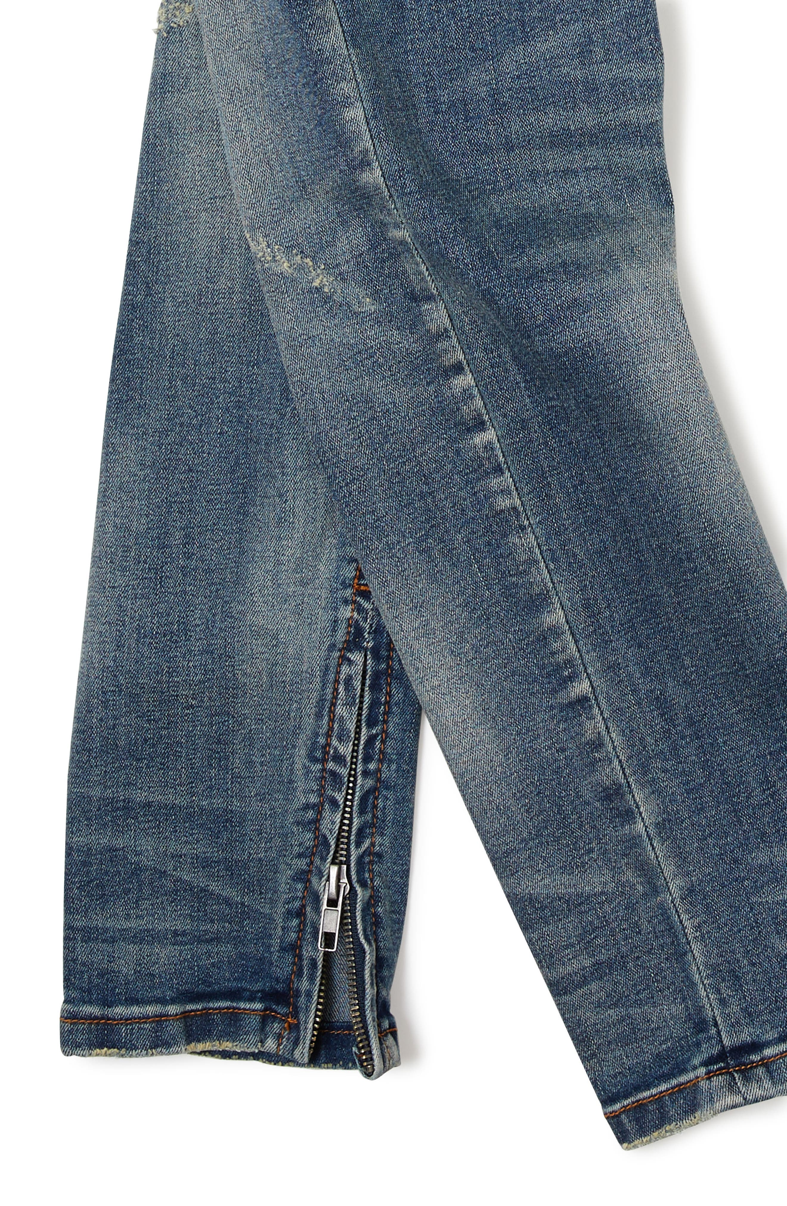 Sand Blasted Moto Skinny Jeans,                             Alternate thumbnail 3, color,                             Dark Wash Denim
