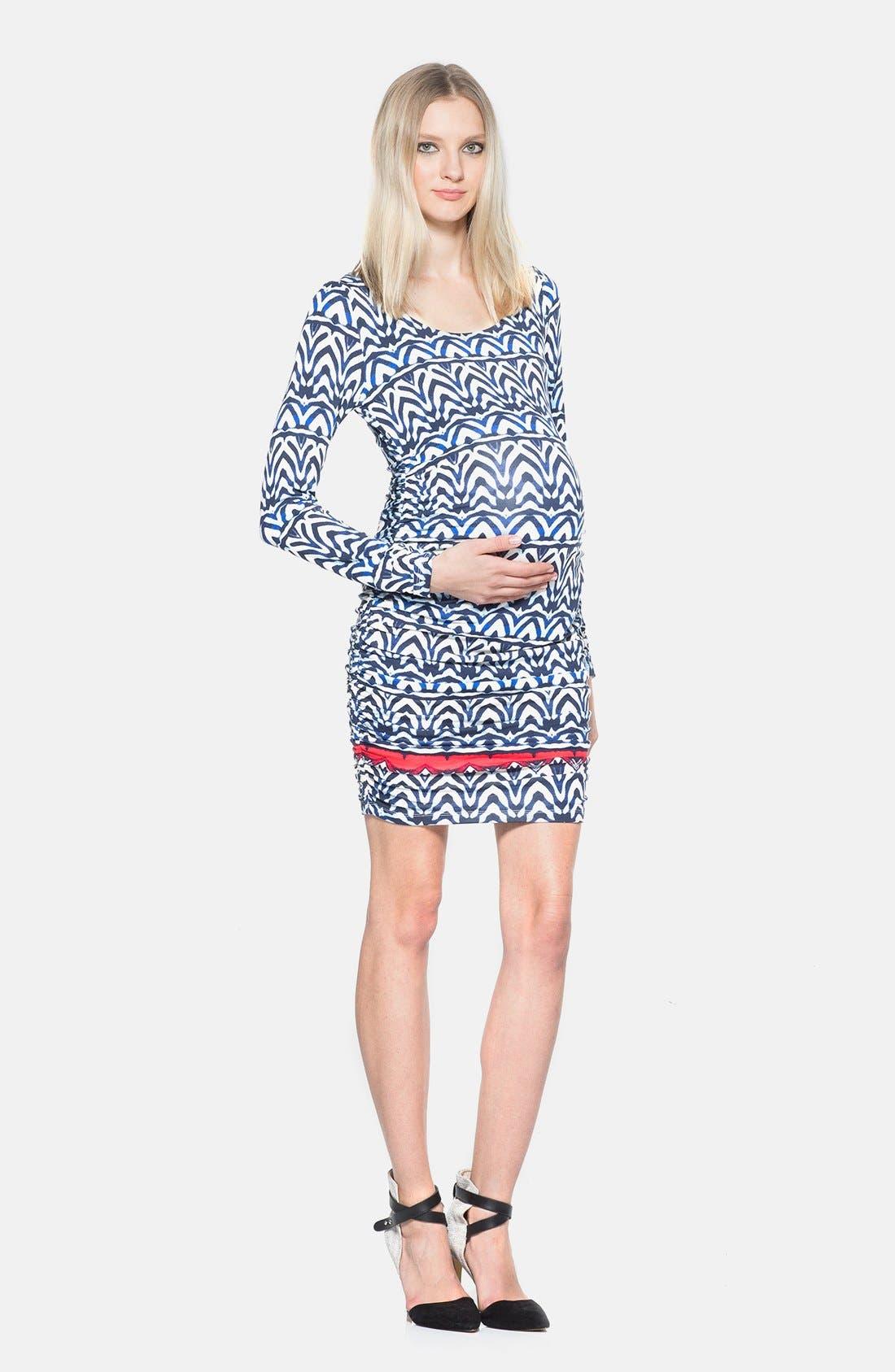 'Shari' Body-Con Maternity Dress,                             Main thumbnail 1, color,                             Africa Stripe