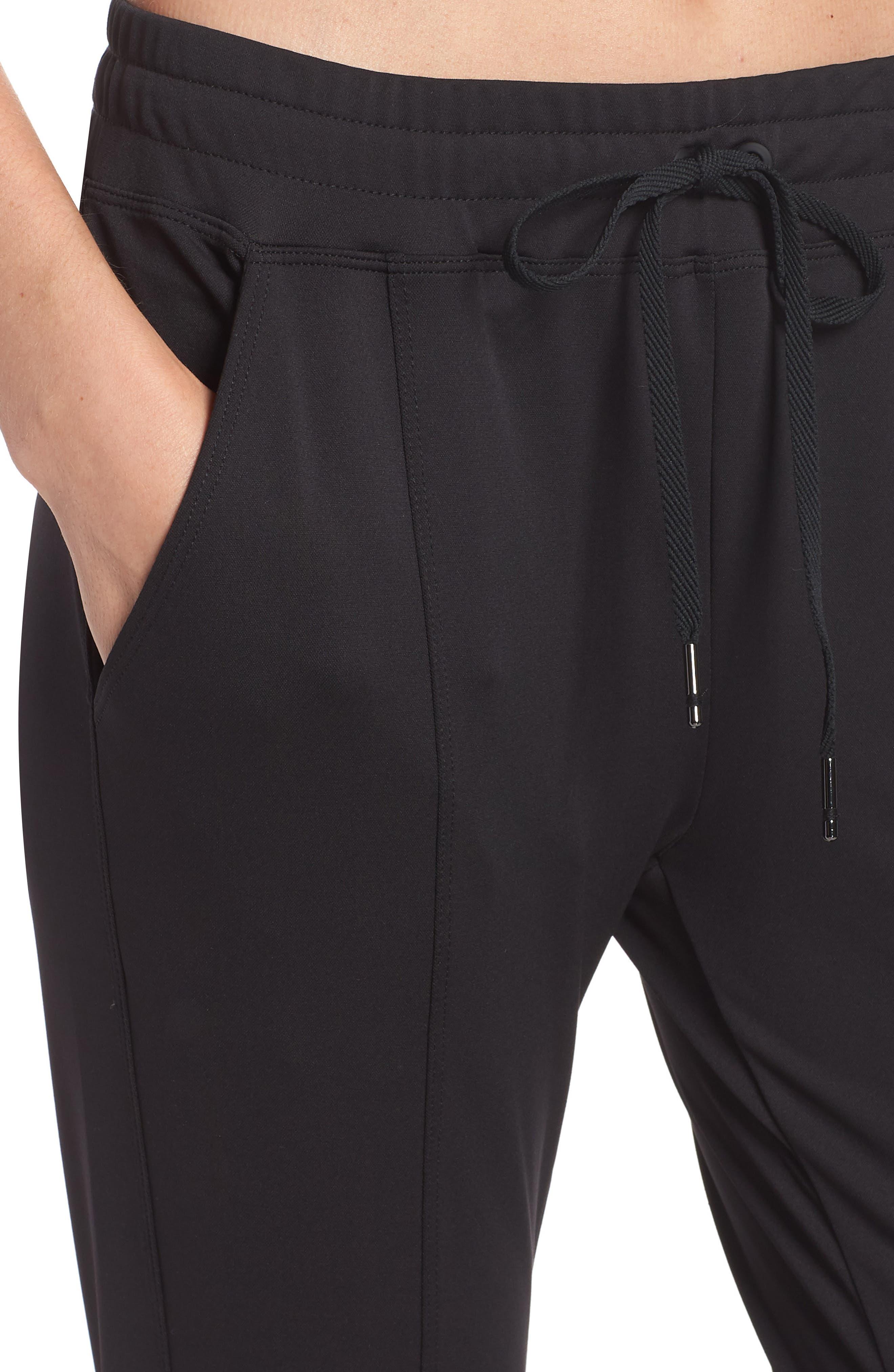 Mica Crop Track Pants,                             Alternate thumbnail 4, color,                             Black